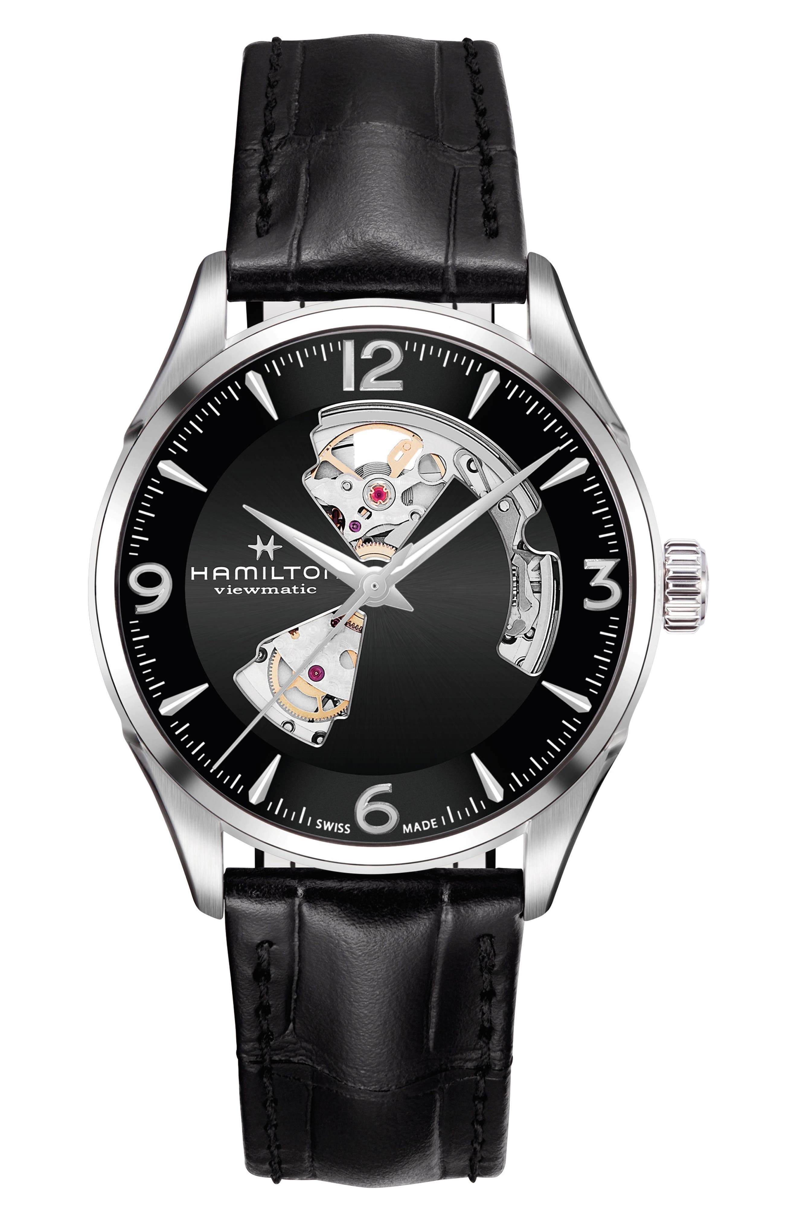 Jazzmaster Open Heart Automatic Leather Strap Watch, 42mm,                         Main,                         color, BLACK/ SILVER