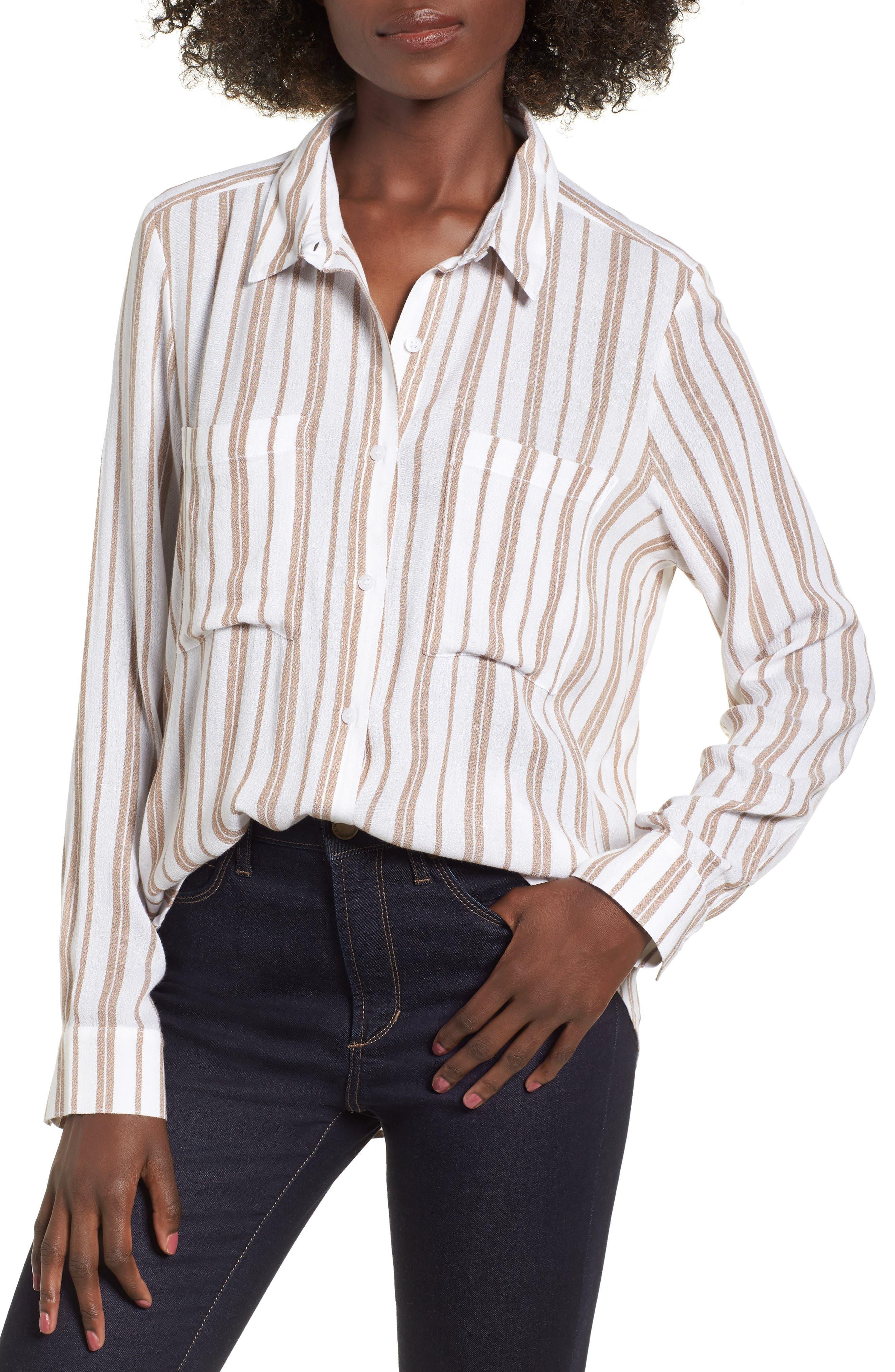 The Perfect Shirt,                         Main,                         color, TAN BURRO LEONA STRIPE