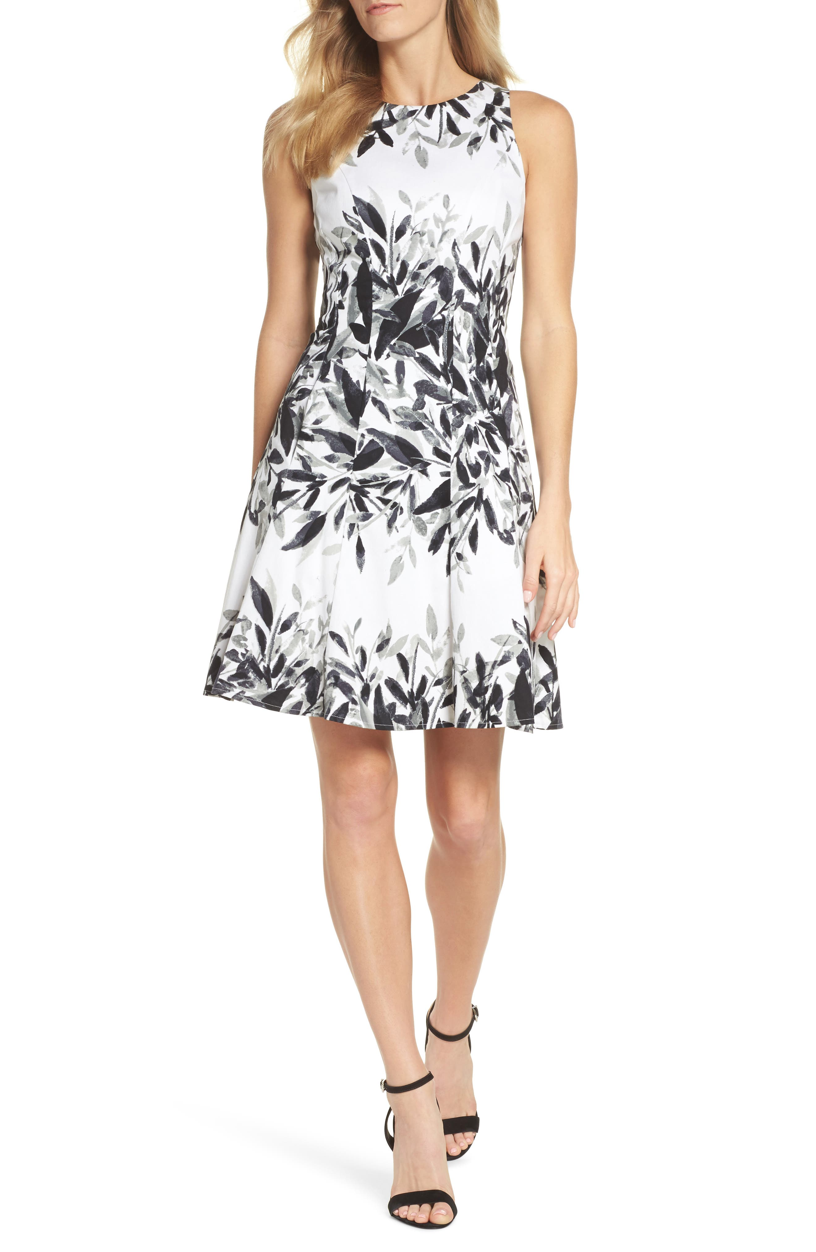 Sateen Fit & Flare Dress,                             Main thumbnail 1, color,