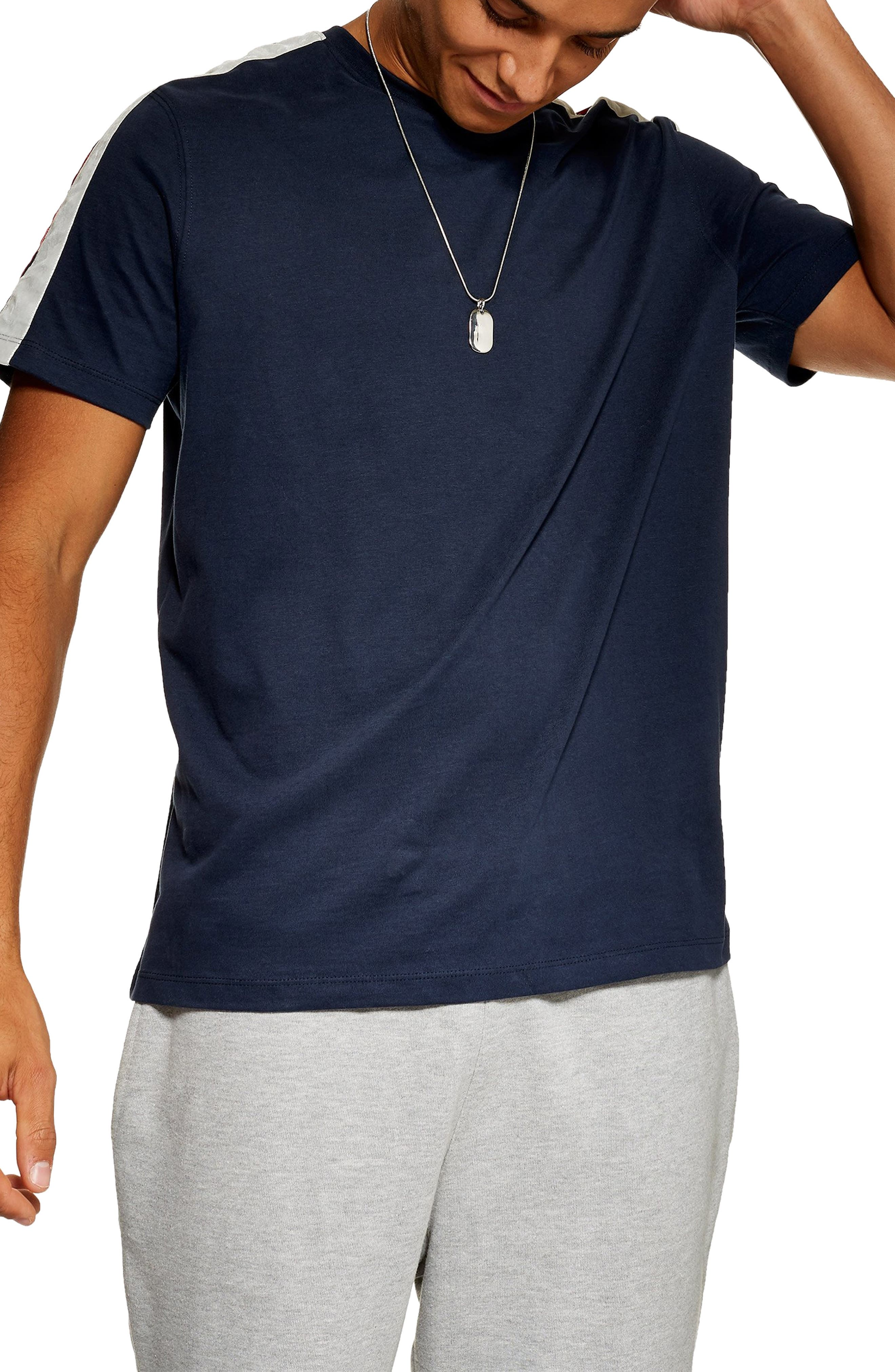 Velour Taped T-Shirt,                         Main,                         color, NAVY BLUE