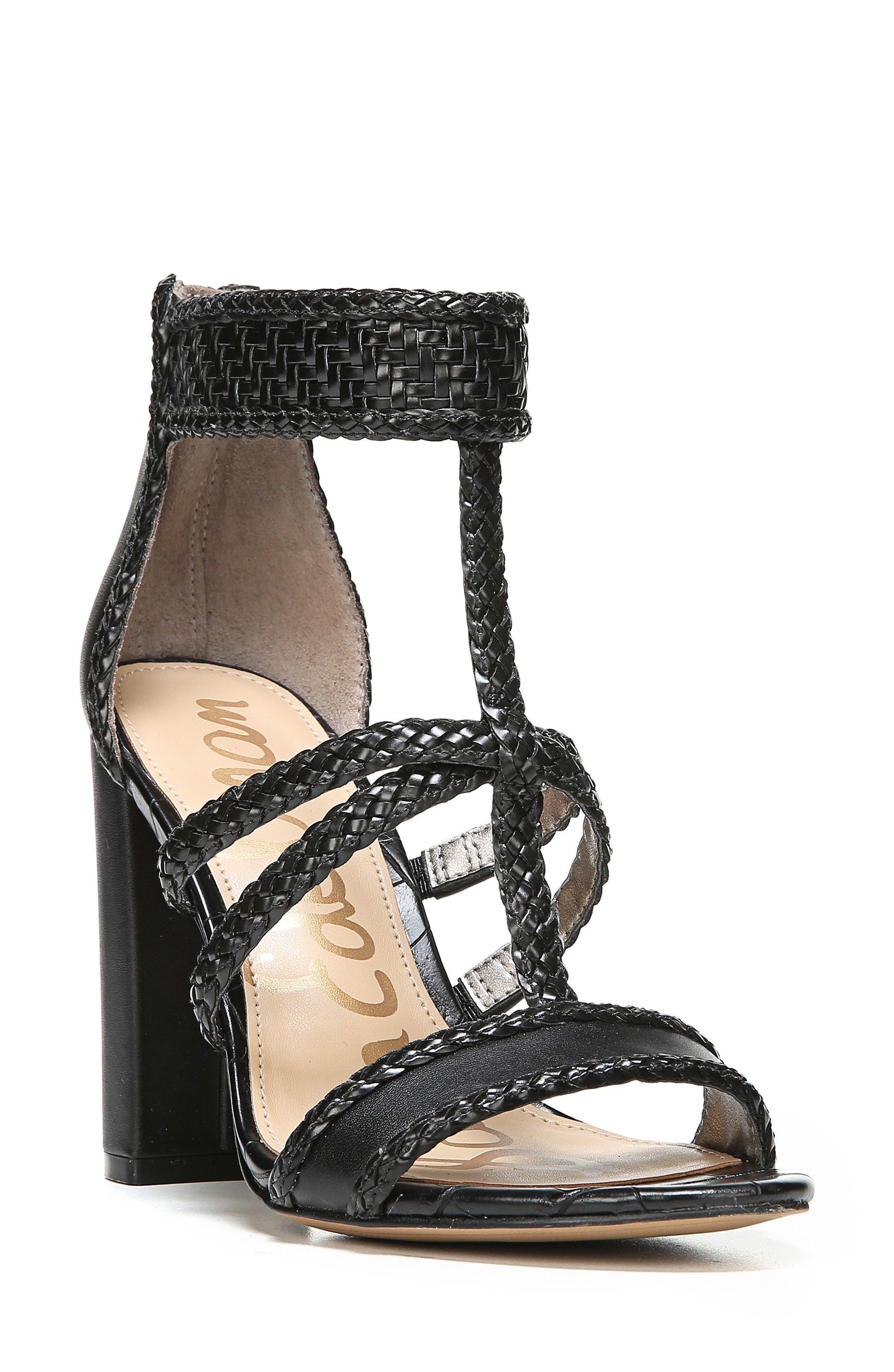 Yordana Woven T-Strap Sandal,                             Main thumbnail 1, color,                             001