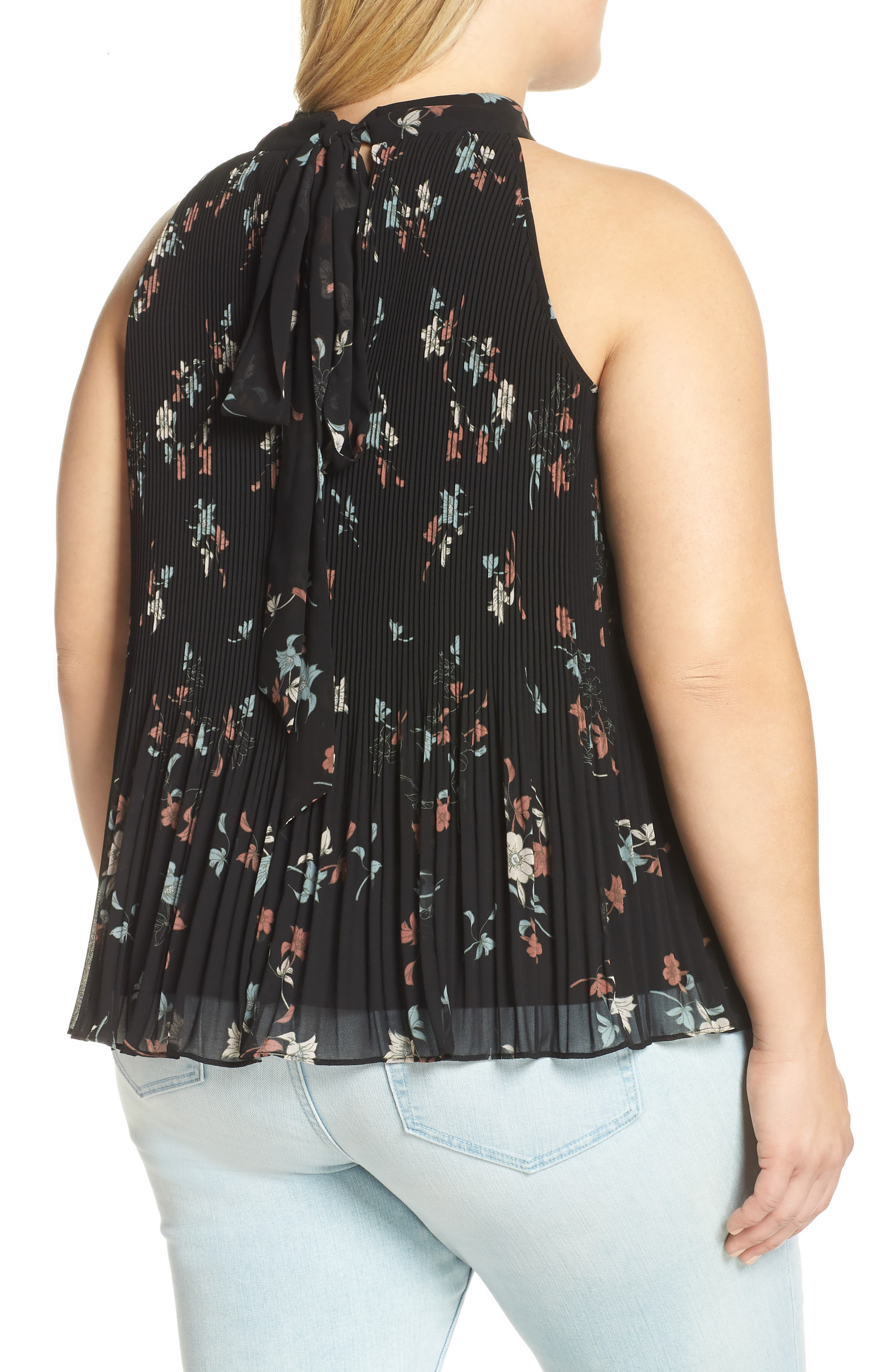 Floral Belle Pleated Tank,                             Alternate thumbnail 2, color,                             RED BLACK BLUSH