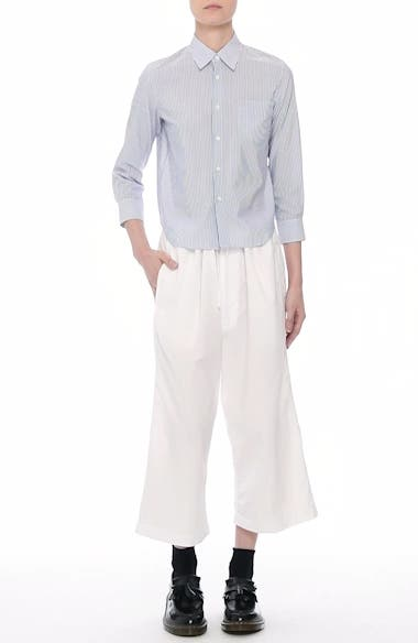 Washed Cotton Wide Leg Crop Pants, video thumbnail