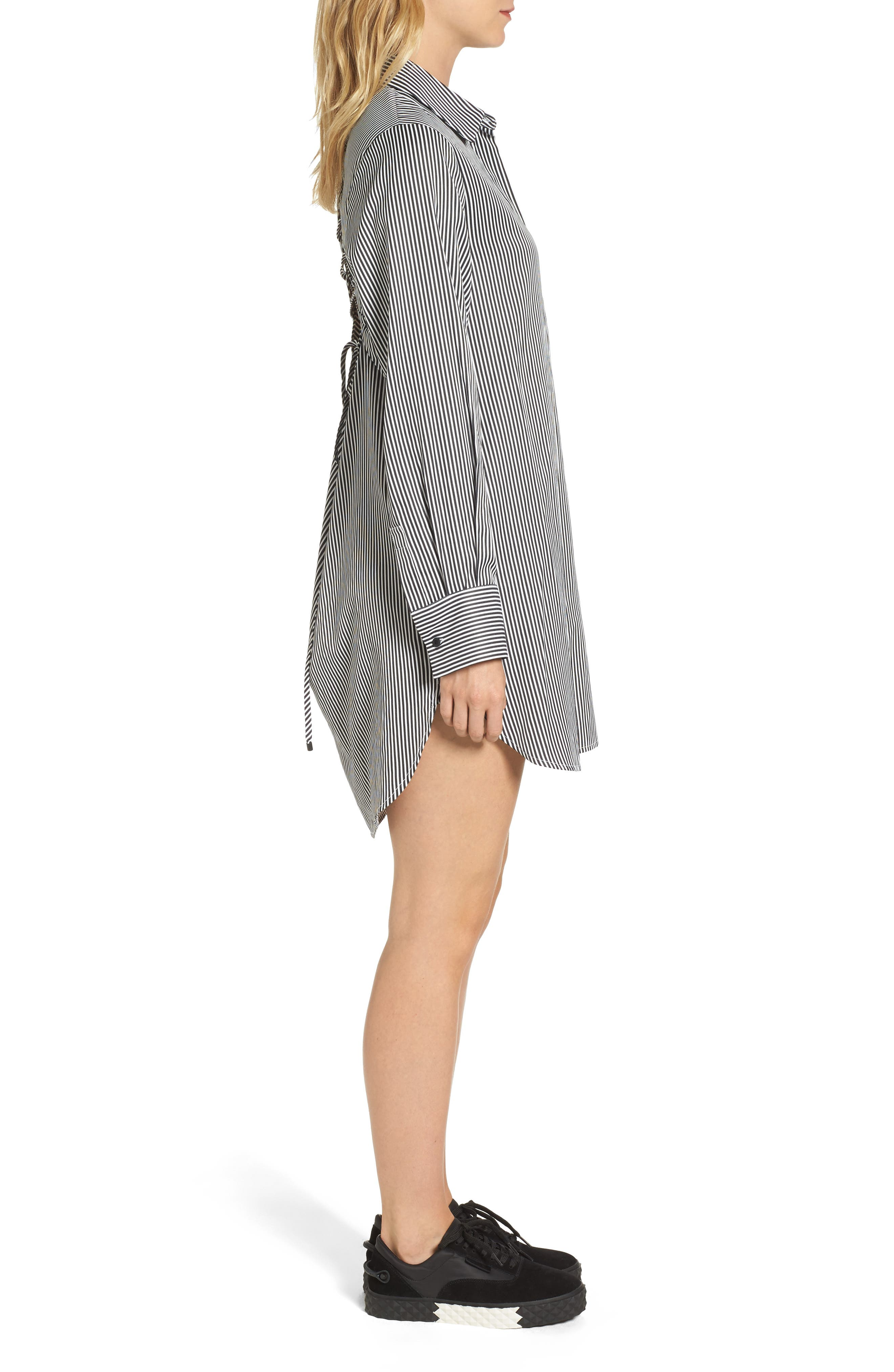Lace-Up Back Shirtdress,                             Alternate thumbnail 3, color,                             002