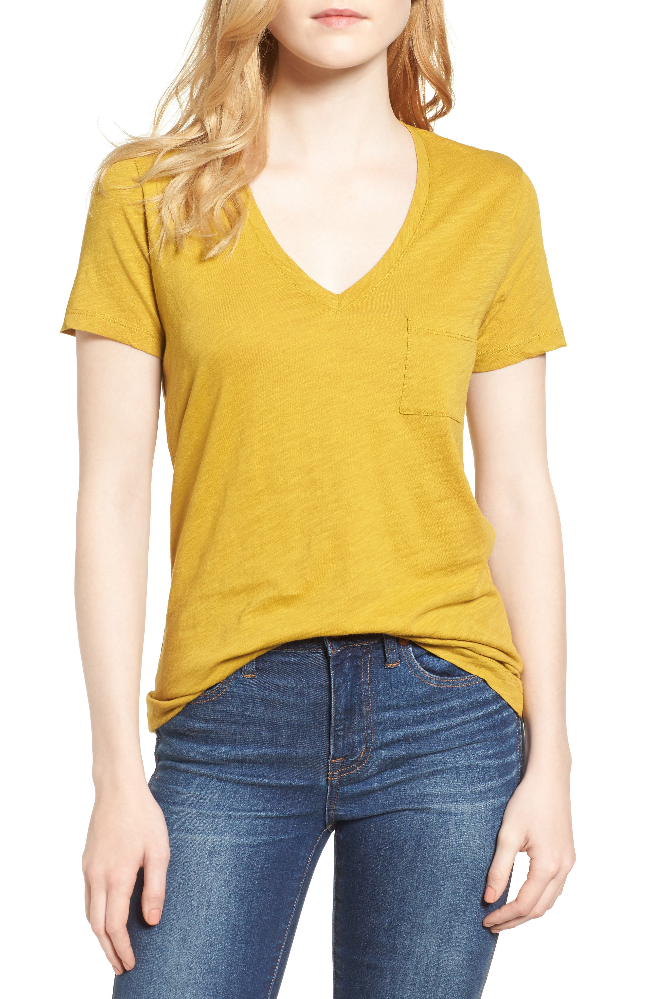 Whisper Cotton V-Neck Pocket Tee,                             Main thumbnail 40, color,