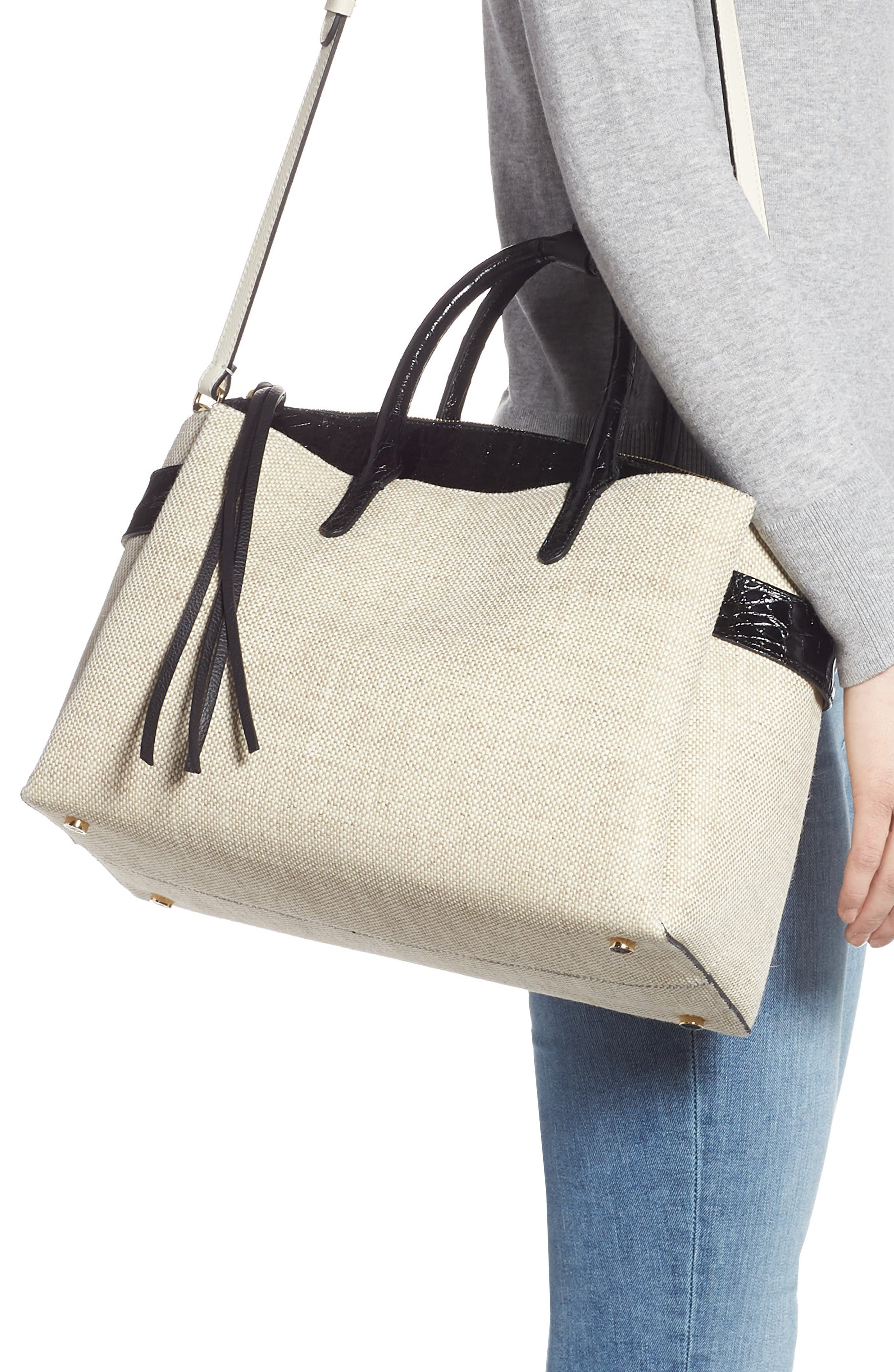 Large Cristie Linen & Genuine Crocodile Tote,                             Alternate thumbnail 2, color,                             LINEN/ BLACK