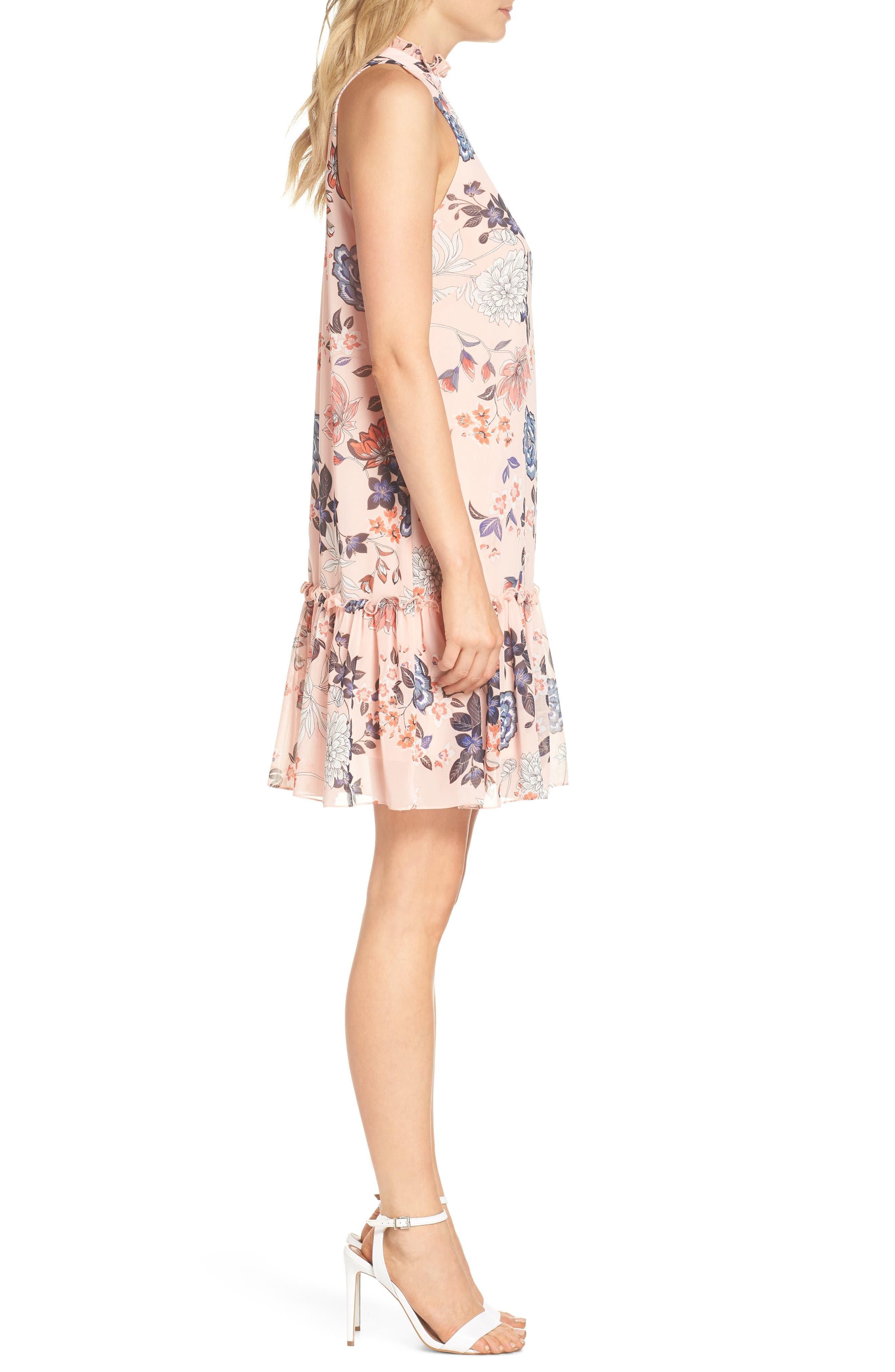 Floral Ruffle Neck Chiffon Shift Dress,                             Alternate thumbnail 3, color,                             BLUSH
