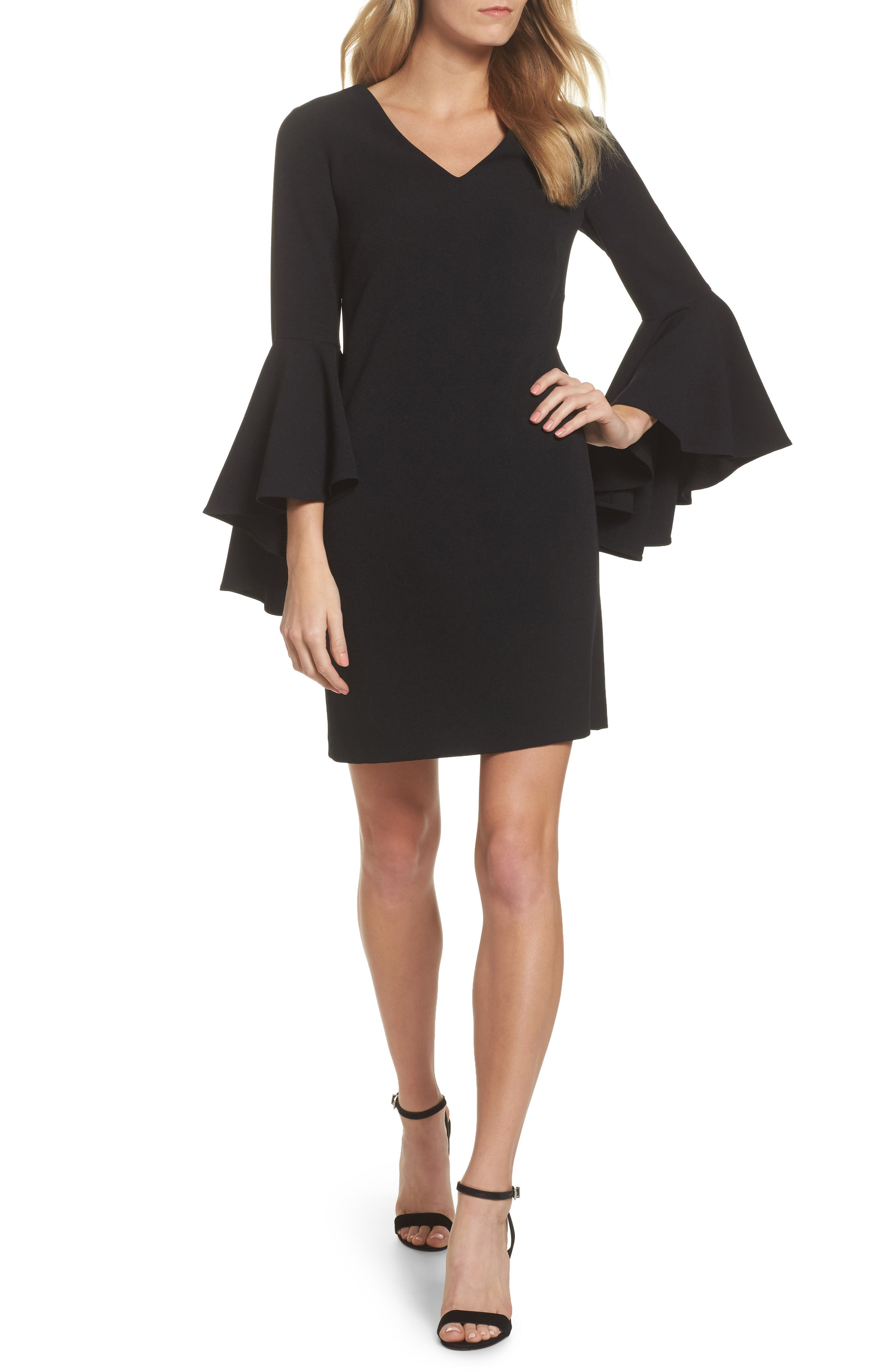 Bell Sleeve Crepe Shift Dress,                         Main,                         color, 001