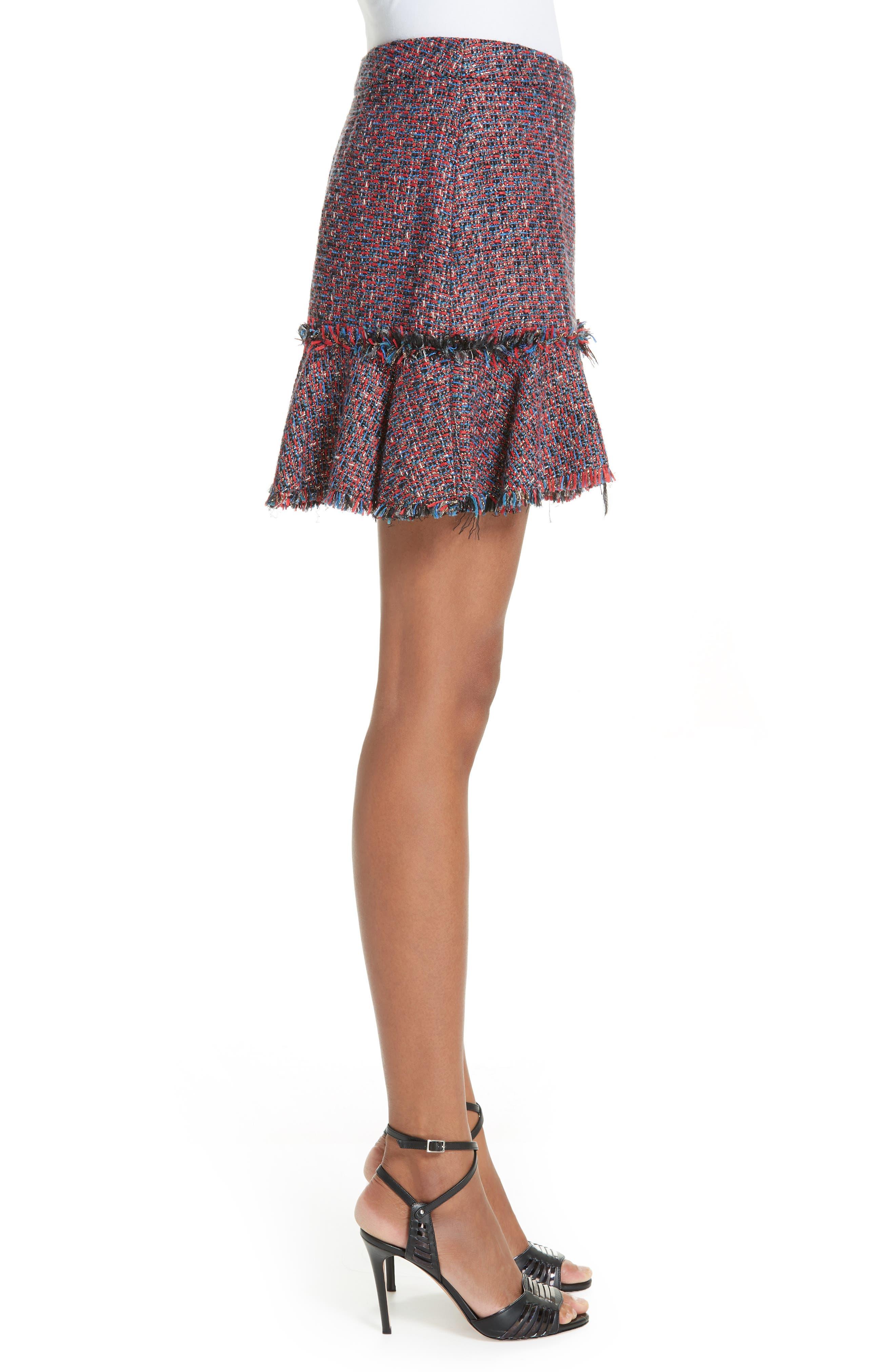 Madra Tweed Skirt,                             Alternate thumbnail 3, color,                             RED MULTI