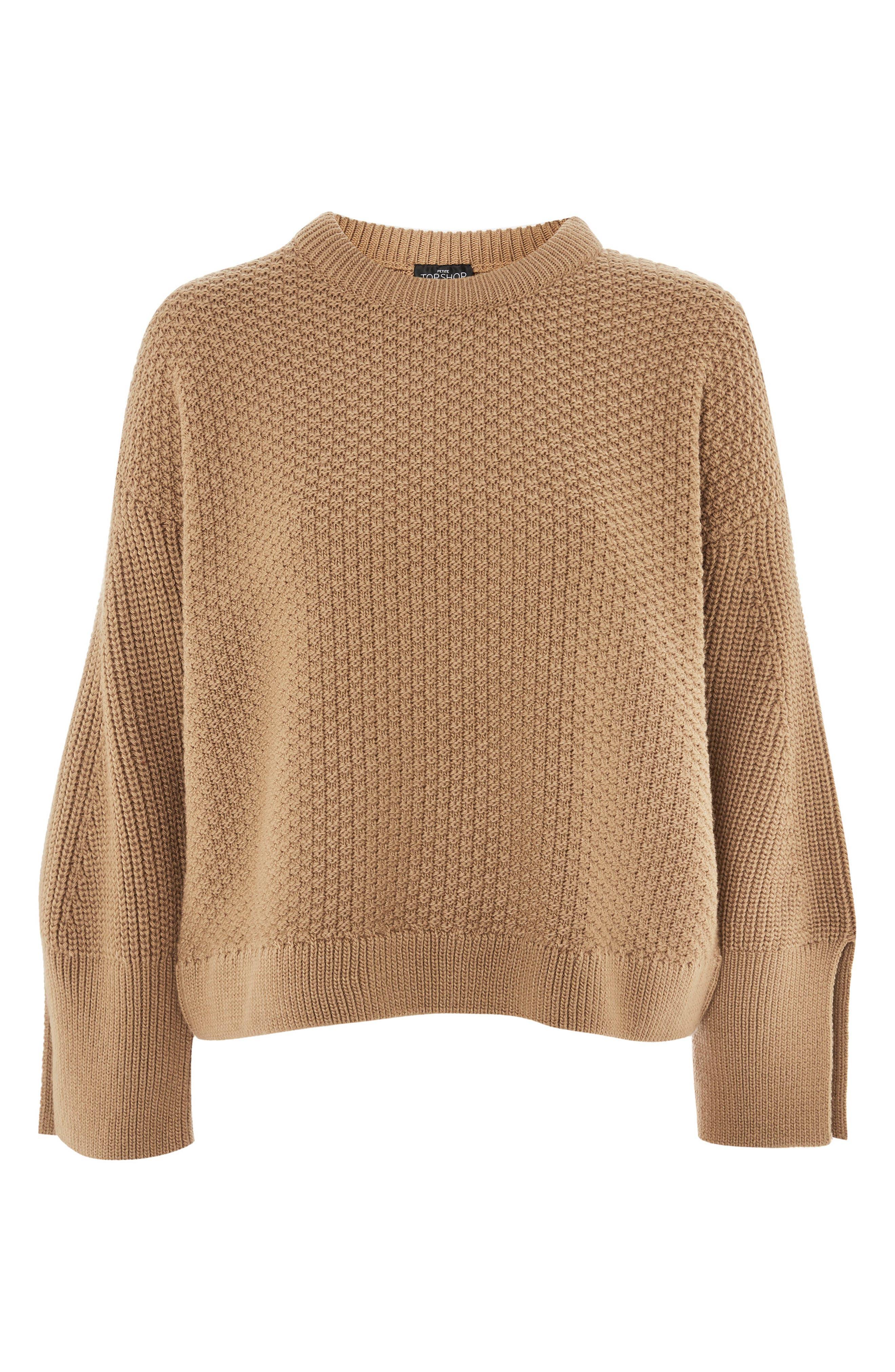 Petite Moss Stitch Sweater,                             Alternate thumbnail 4, color,                             252