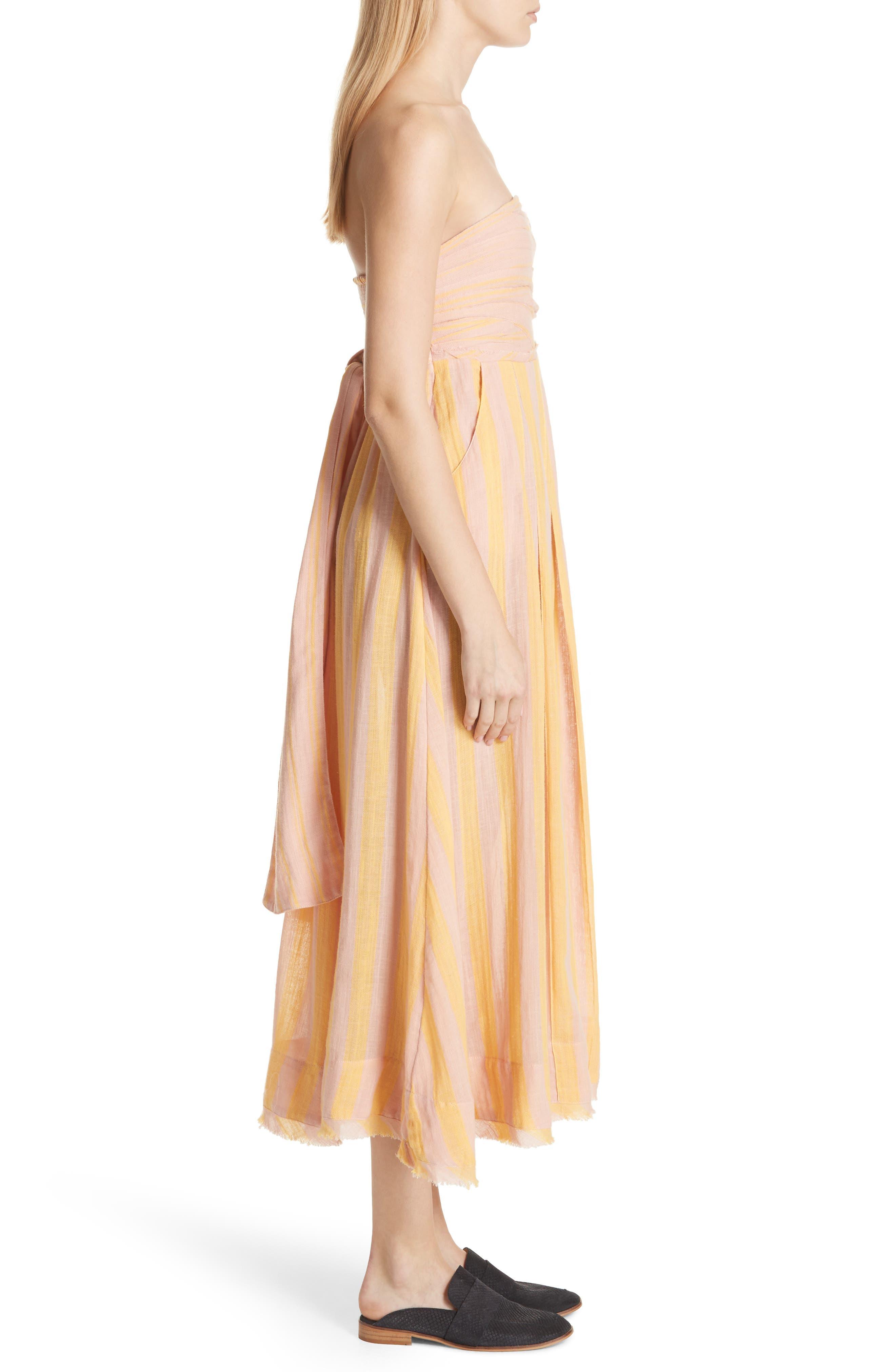 Stripe Me Up Strapless Midi Dress,                             Alternate thumbnail 6, color,