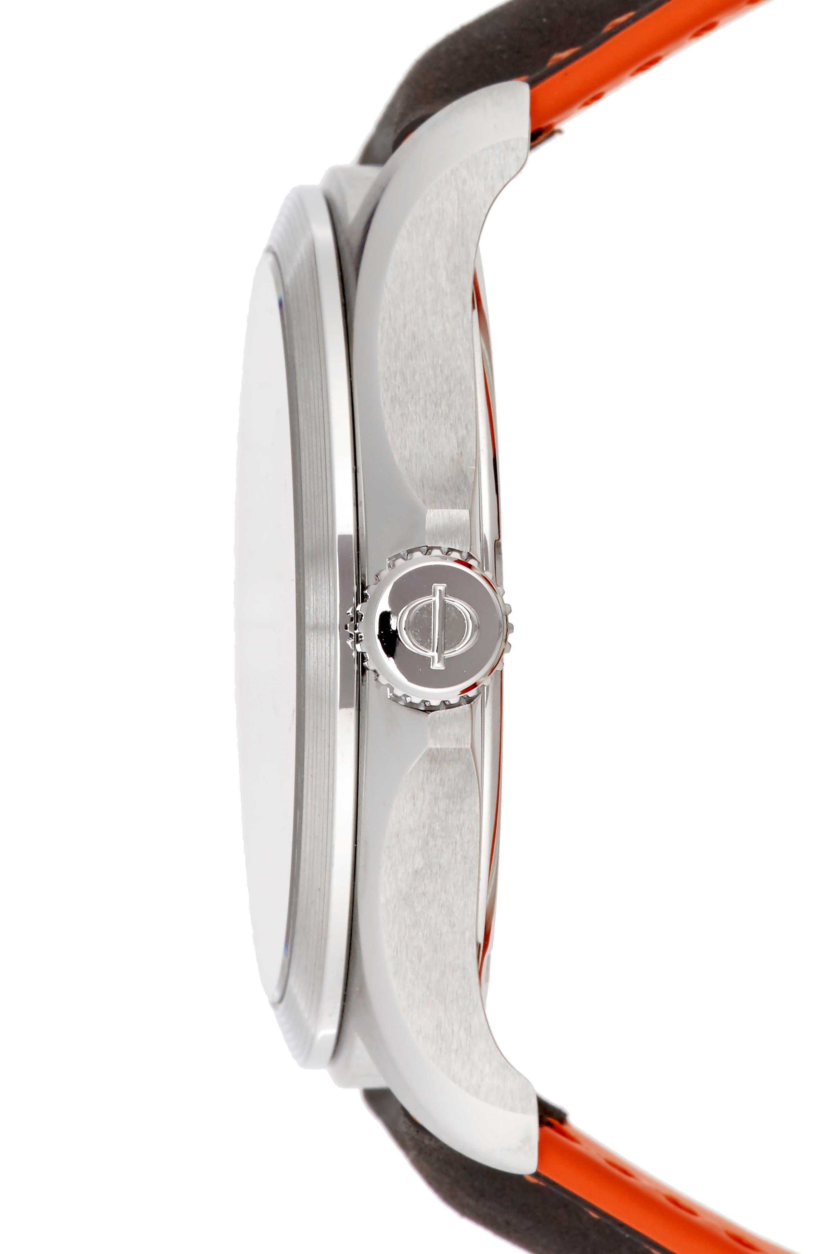 Clifton Leather Strap Watch, 42mm,                             Alternate thumbnail 3, color,                             BLACK/BLACK