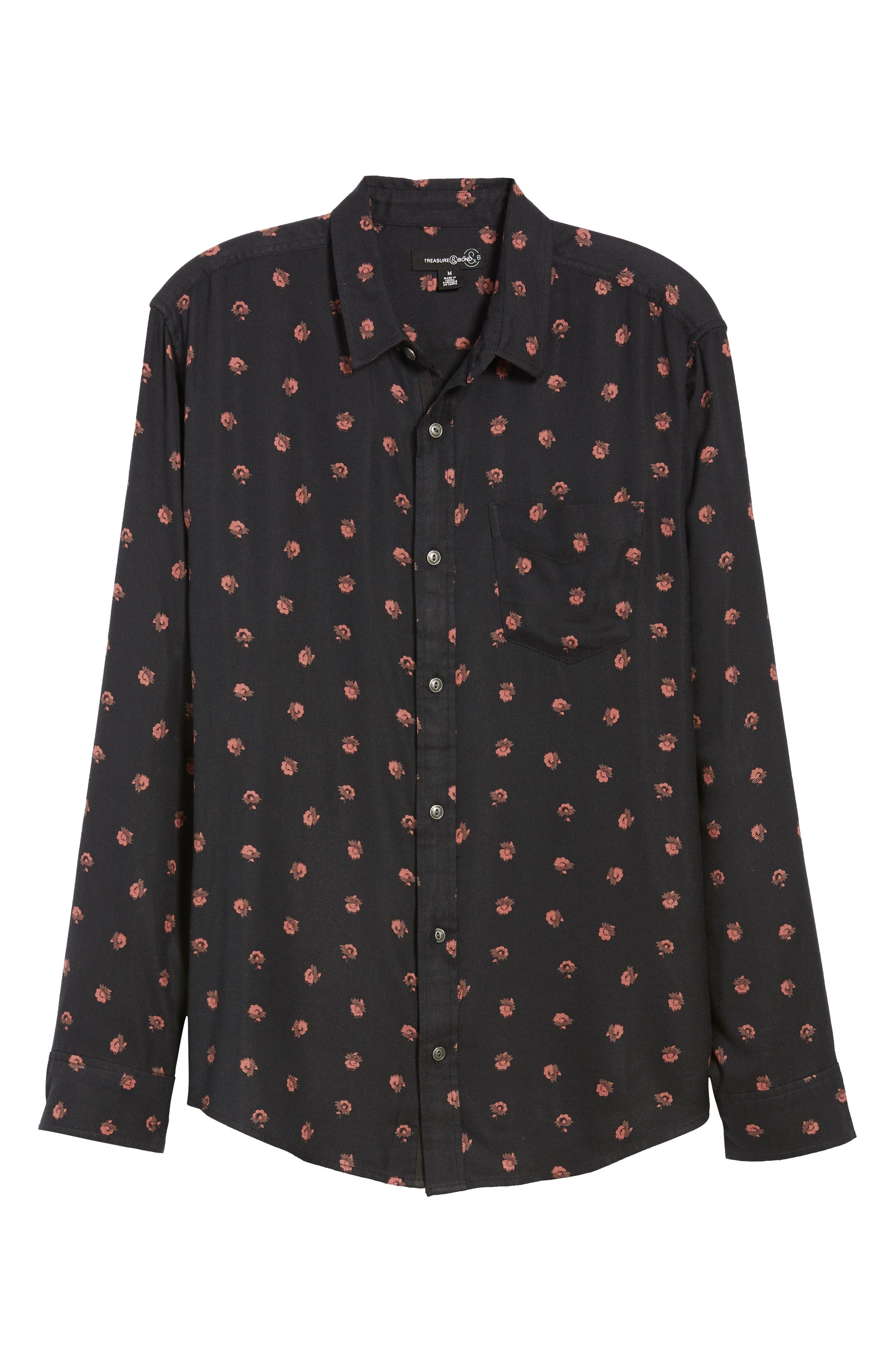 Regular Fit Floral Print Sport Shirt,                             Alternate thumbnail 5, color,                             BLACK DESERT DITSY
