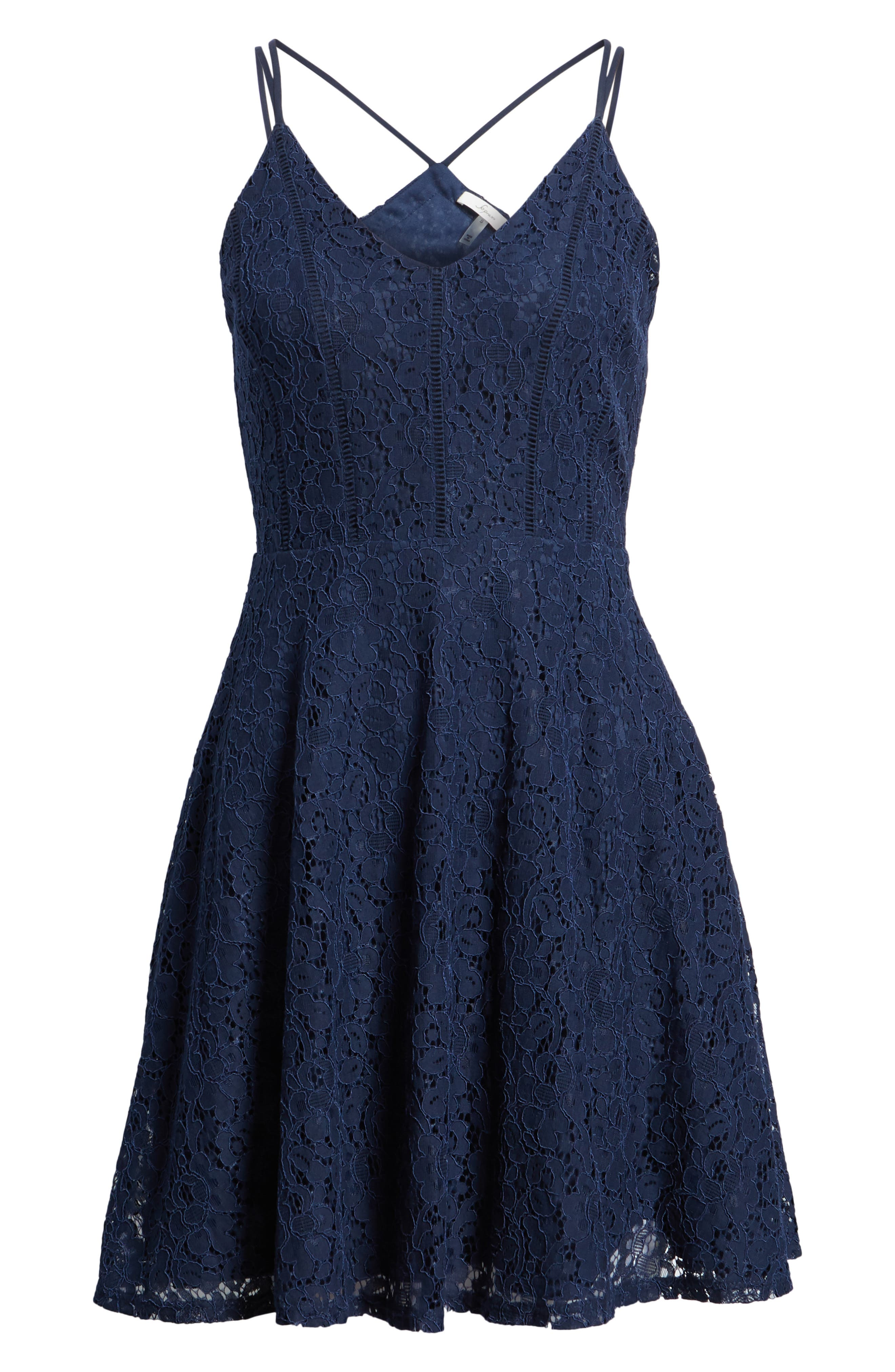 Strappy Lace Fit & Flare Dress,                             Alternate thumbnail 7, color,                             400