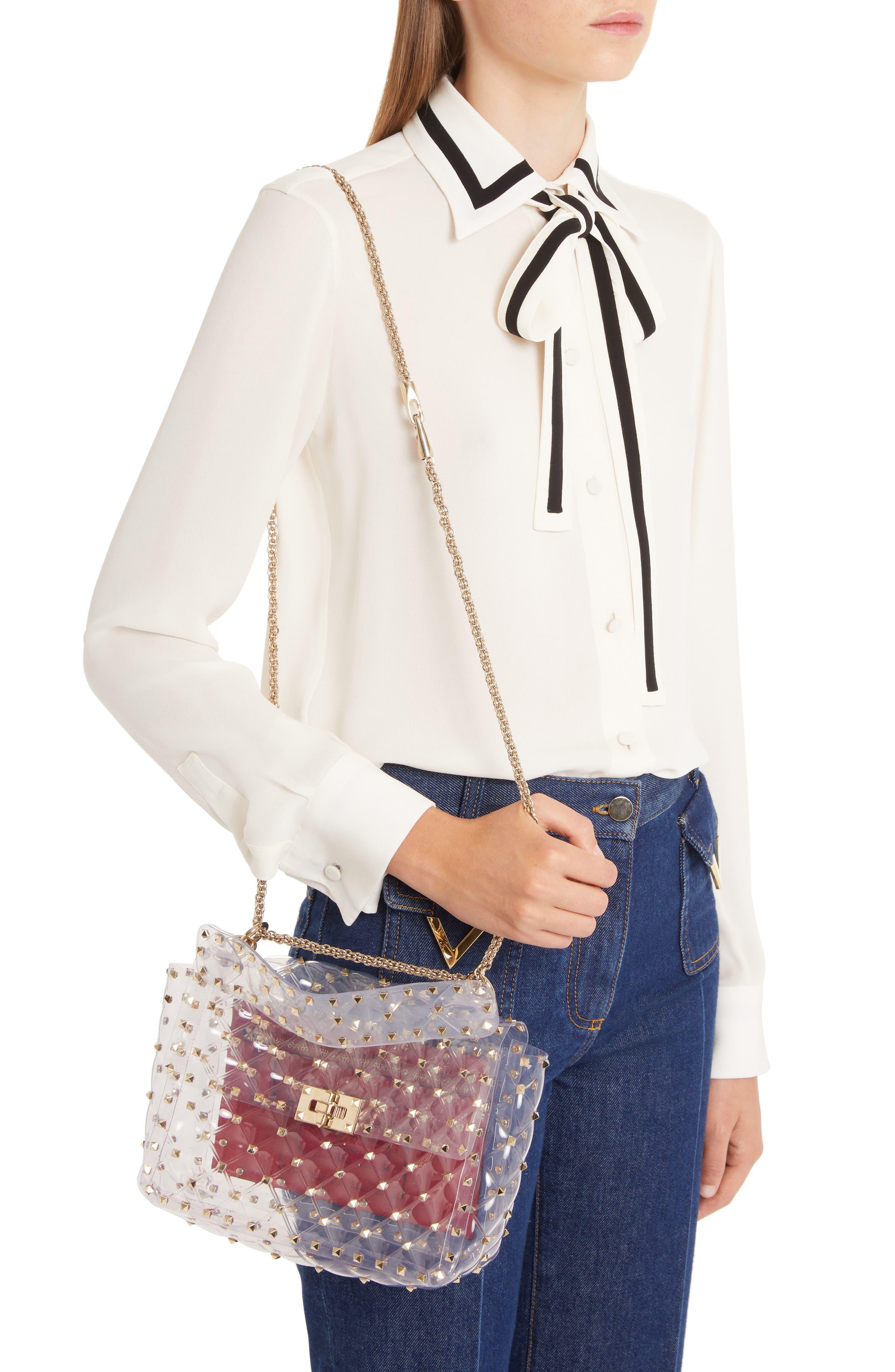 Rockstud Transparent Shoulder Bag,                             Alternate thumbnail 2, color,                             TRASPARENTE/ GOLD