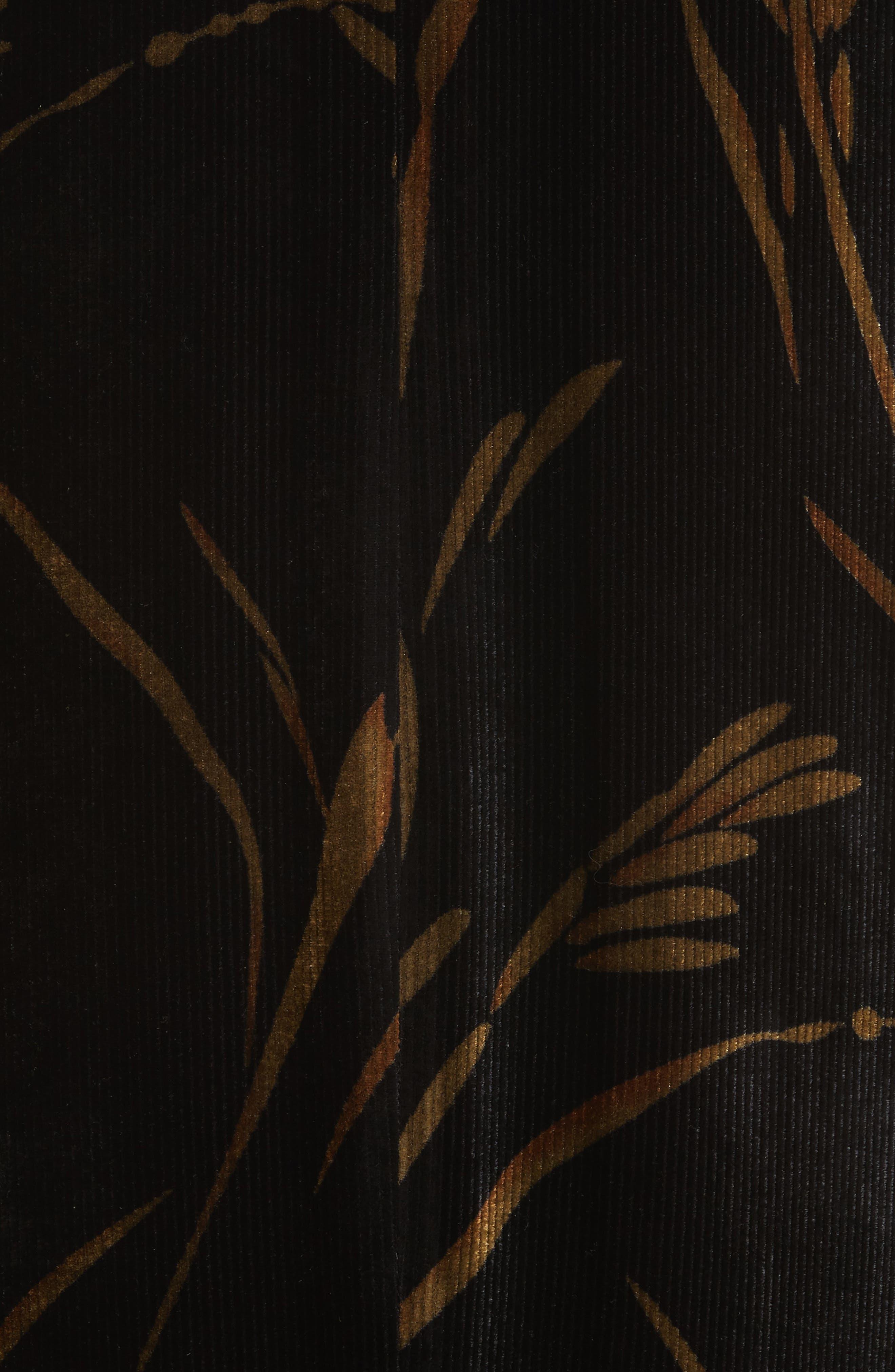 Loribel Golden Bloom Velvet Dress,                             Alternate thumbnail 5, color,