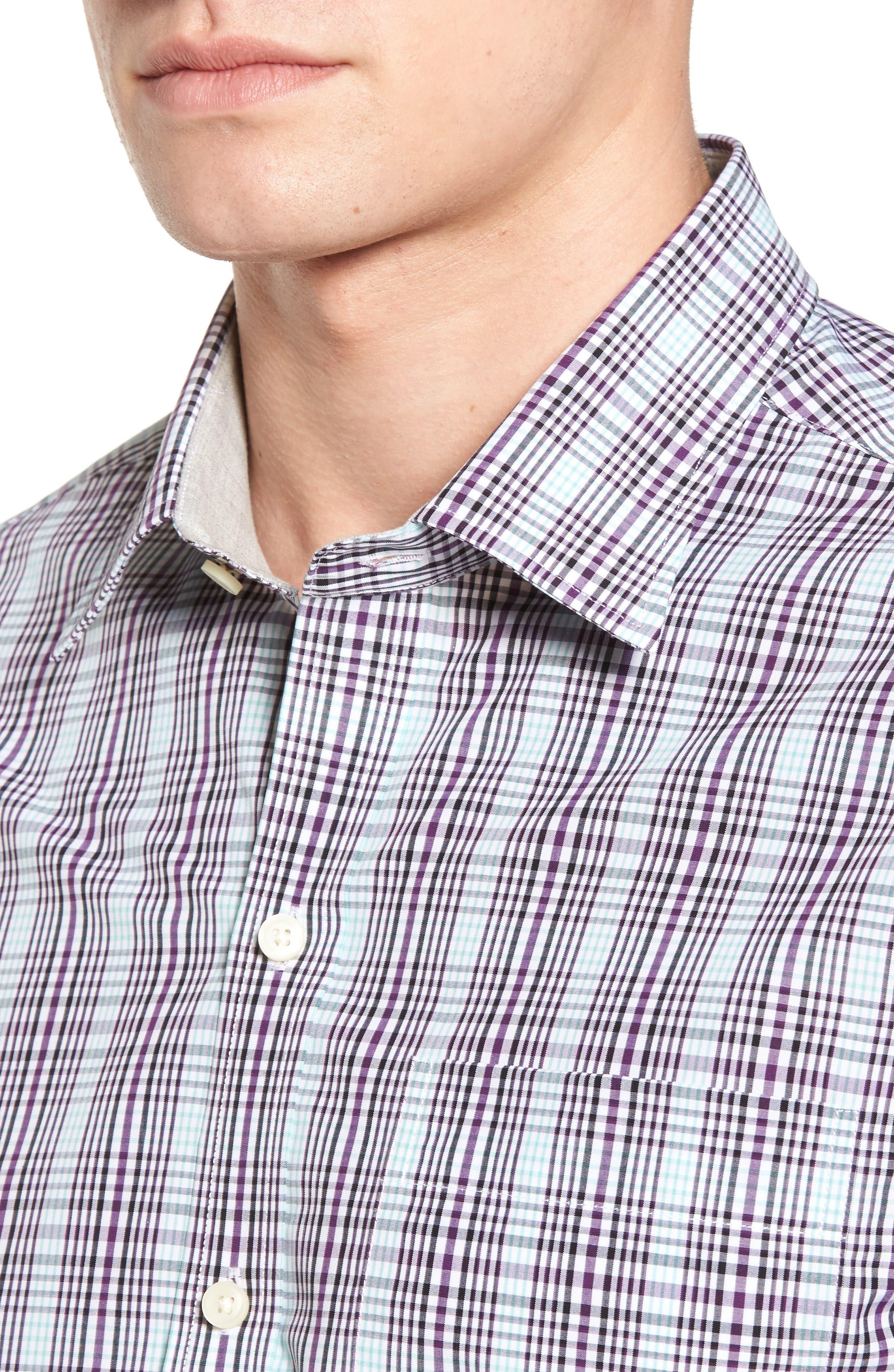 Hoyt Plaid Non-Iron Sport Shirt,                             Alternate thumbnail 4, color,