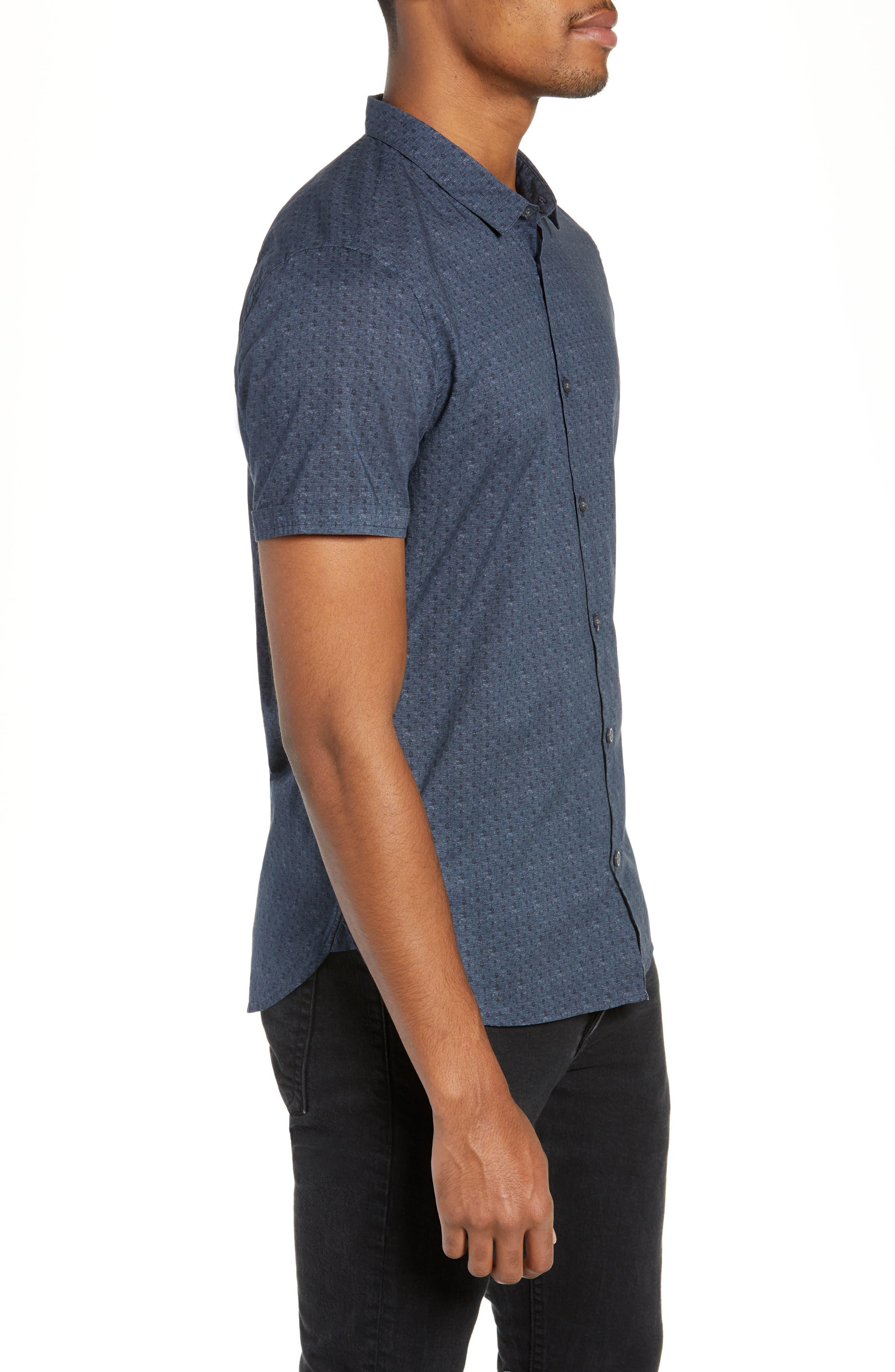 JOHN VARVATOS STAR USA,                             Regular Fit Foulard Print Sport Shirt,                             Alternate thumbnail 4, color,                             TITANIUM BLUE