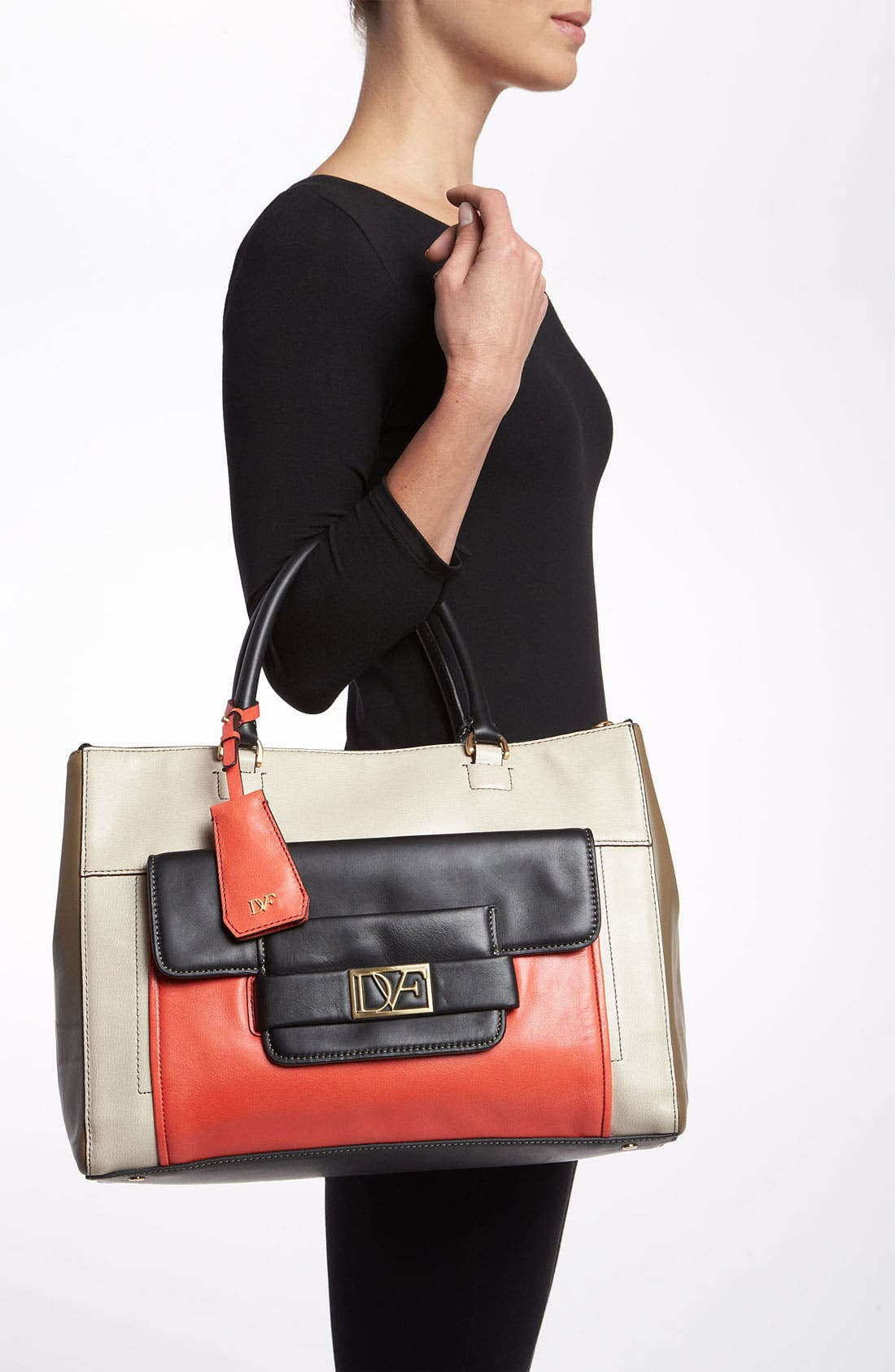 'Eva' Colorblock Tote,                             Alternate thumbnail 4, color,                             251