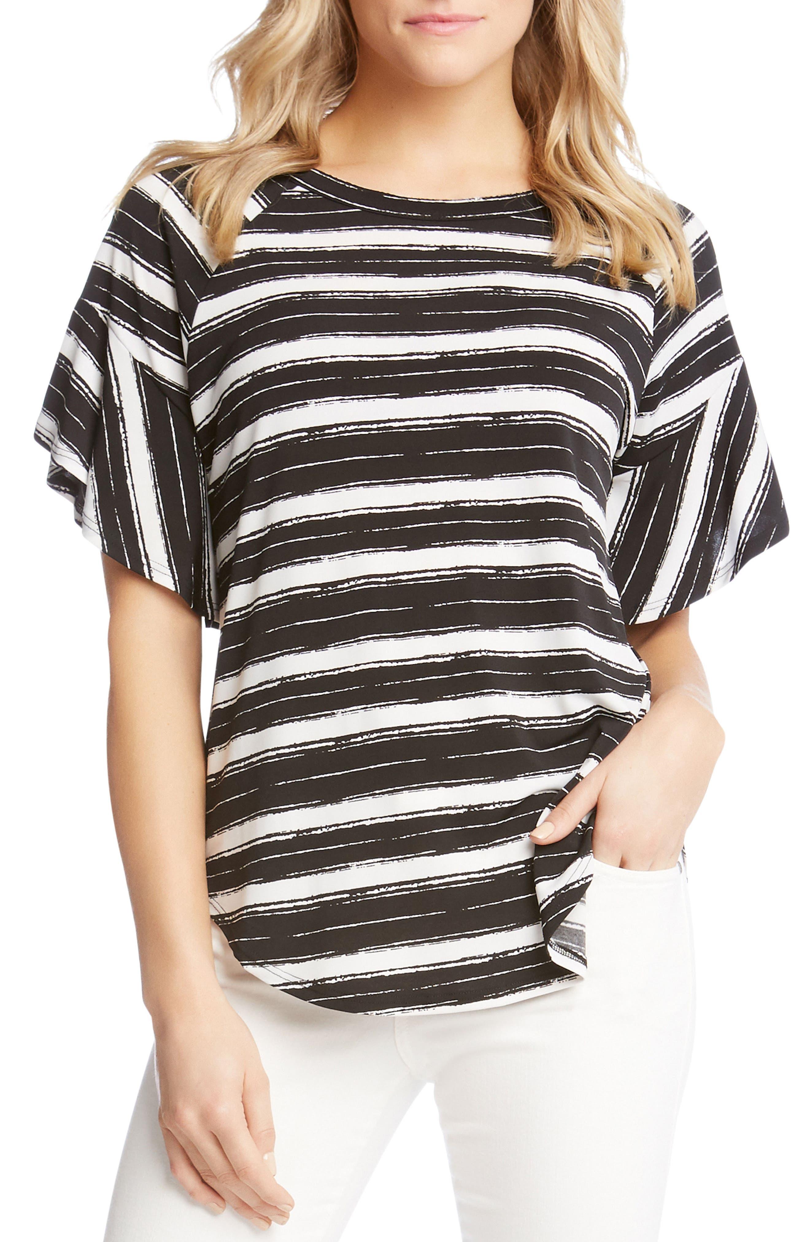Ruffle Sleeve Stripe Top,                         Main,                         color, 009