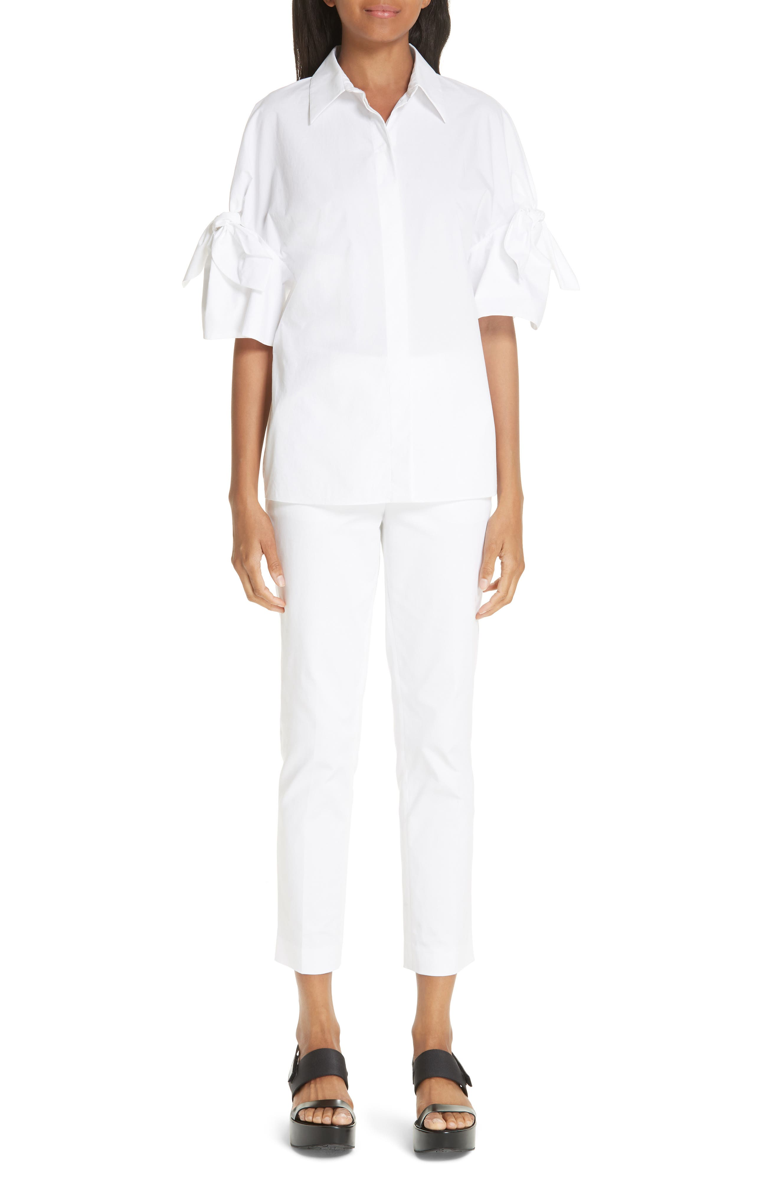 Tie Sleeve Poplin Shirt,                             Alternate thumbnail 8, color,                             OPTIC WHITE