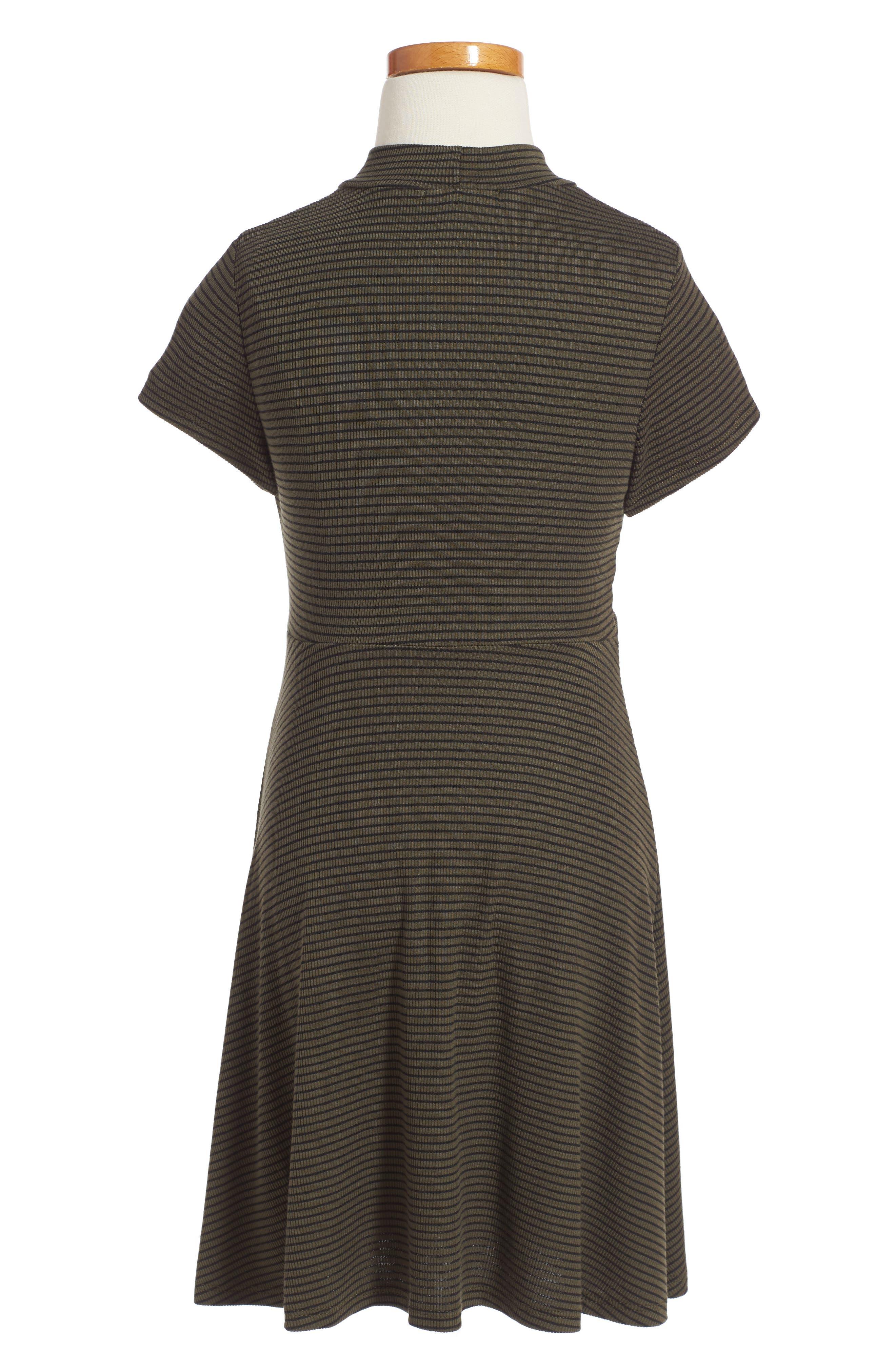 Tie Front Stripe Dress,                             Alternate thumbnail 2, color,                             307