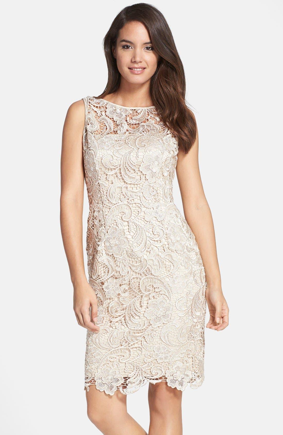 Illusion Bodice Lace Sheath Dress,                             Main thumbnail 5, color,