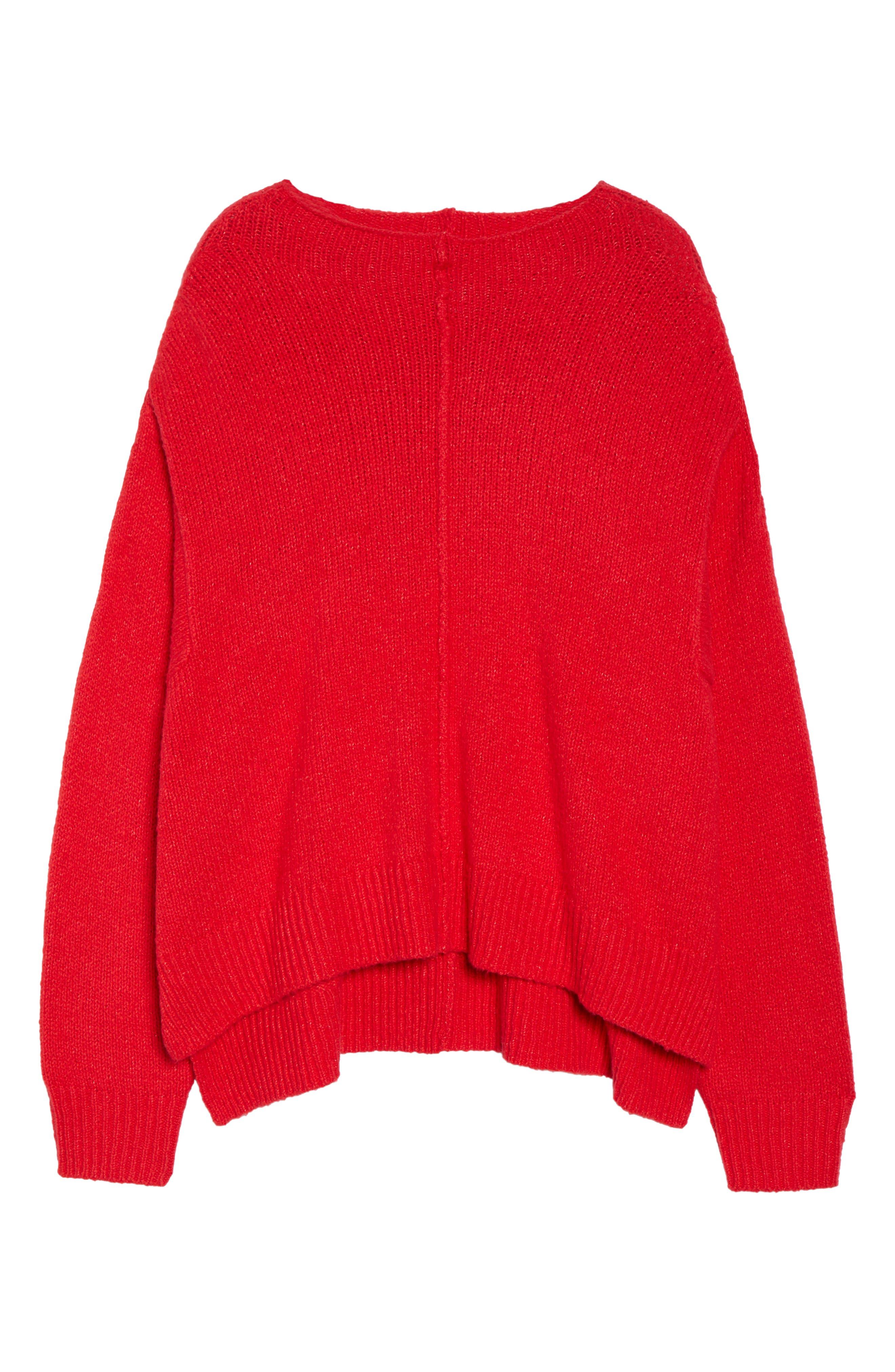 Side Slit Sweater,                             Alternate thumbnail 6, color,                             RED LIPSTICK