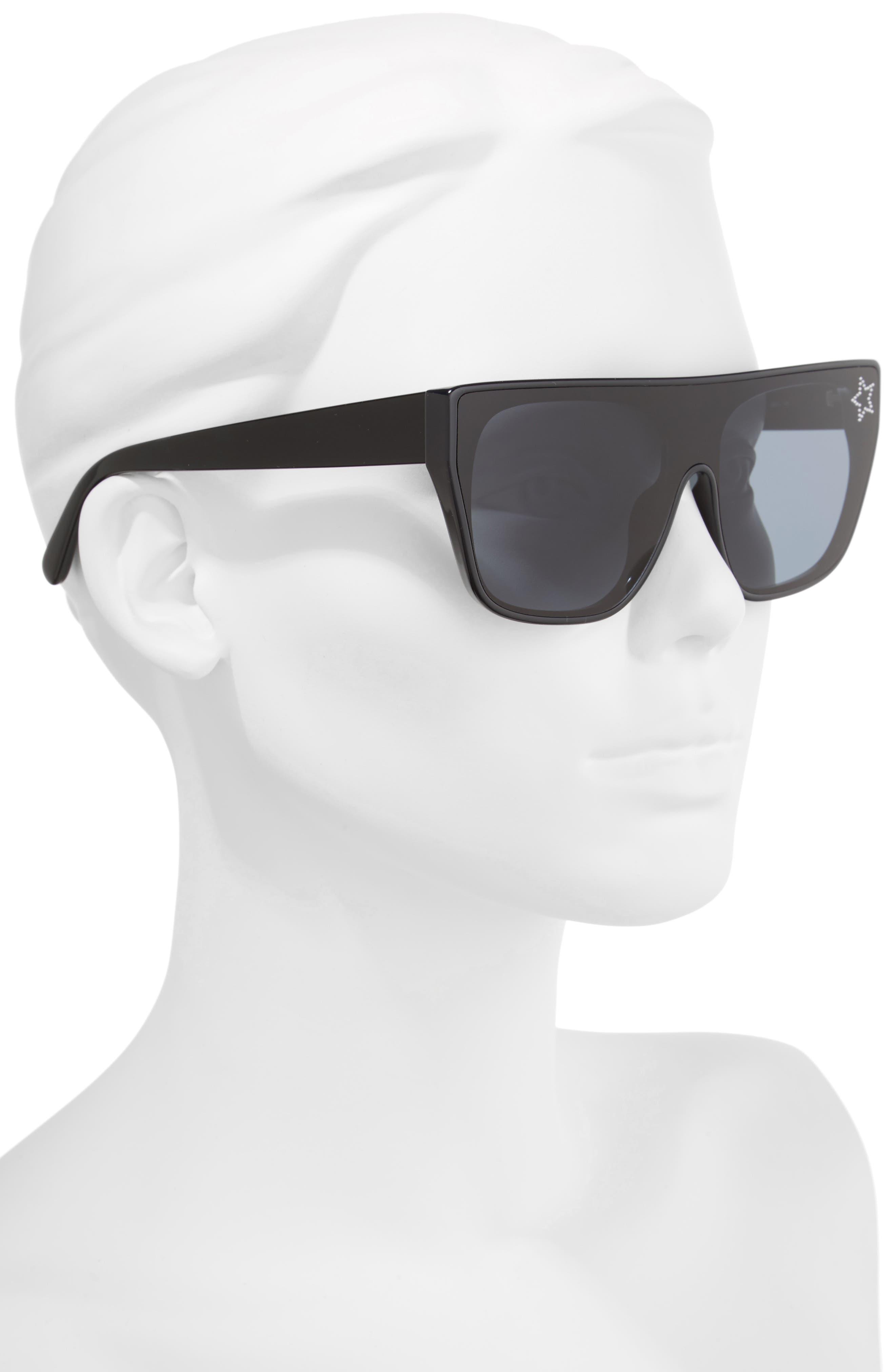 99mm Flat Top Sunglasses,                             Alternate thumbnail 2, color,                             BLACK