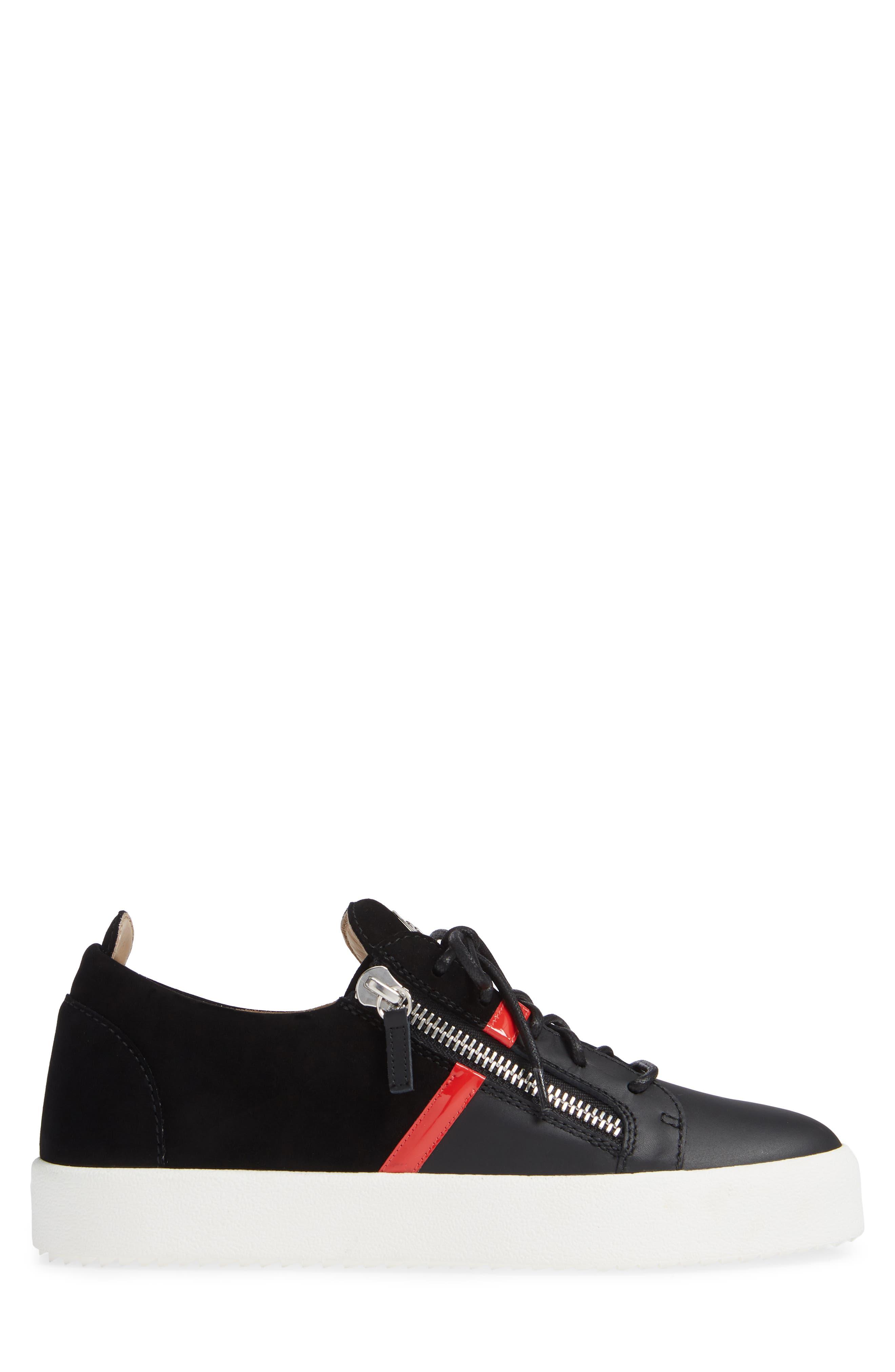 Low Top Stripe Sneaker,                             Alternate thumbnail 3, color,                             BLACK