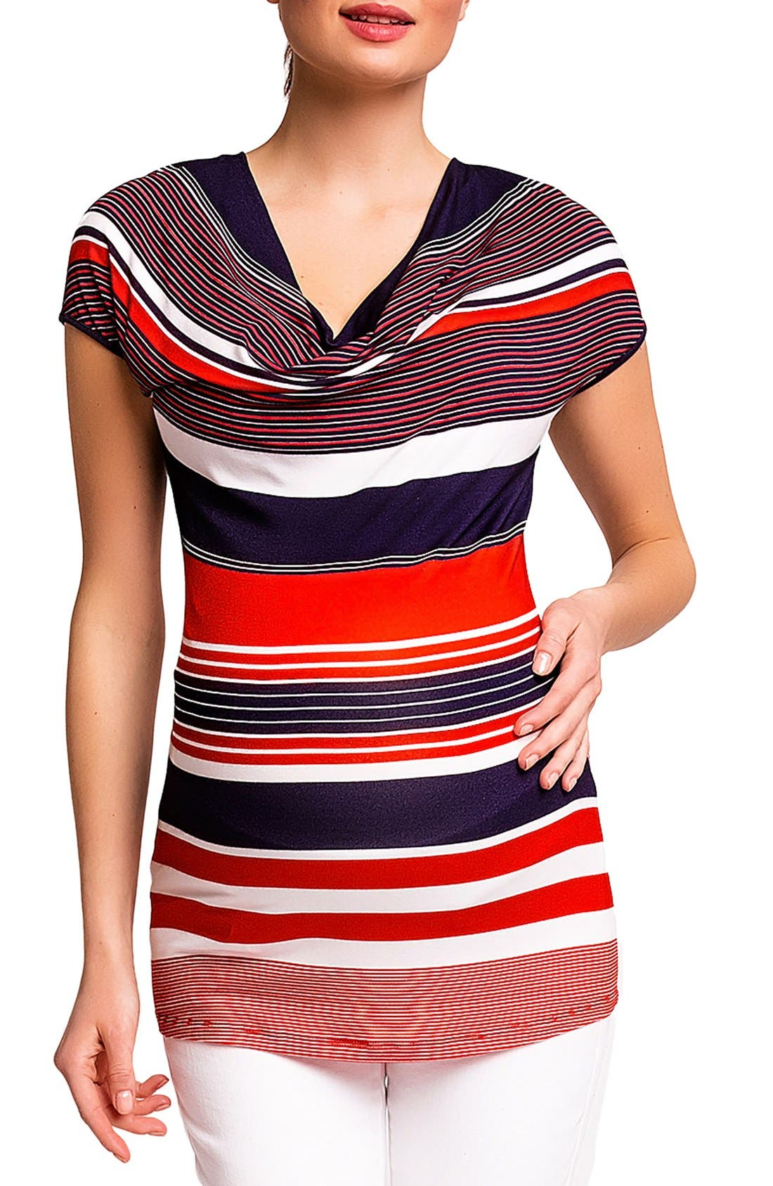 'Ginestra' Maternity/Nursing Tunic,                             Main thumbnail 1, color,                             RED/BLUE STRIPES