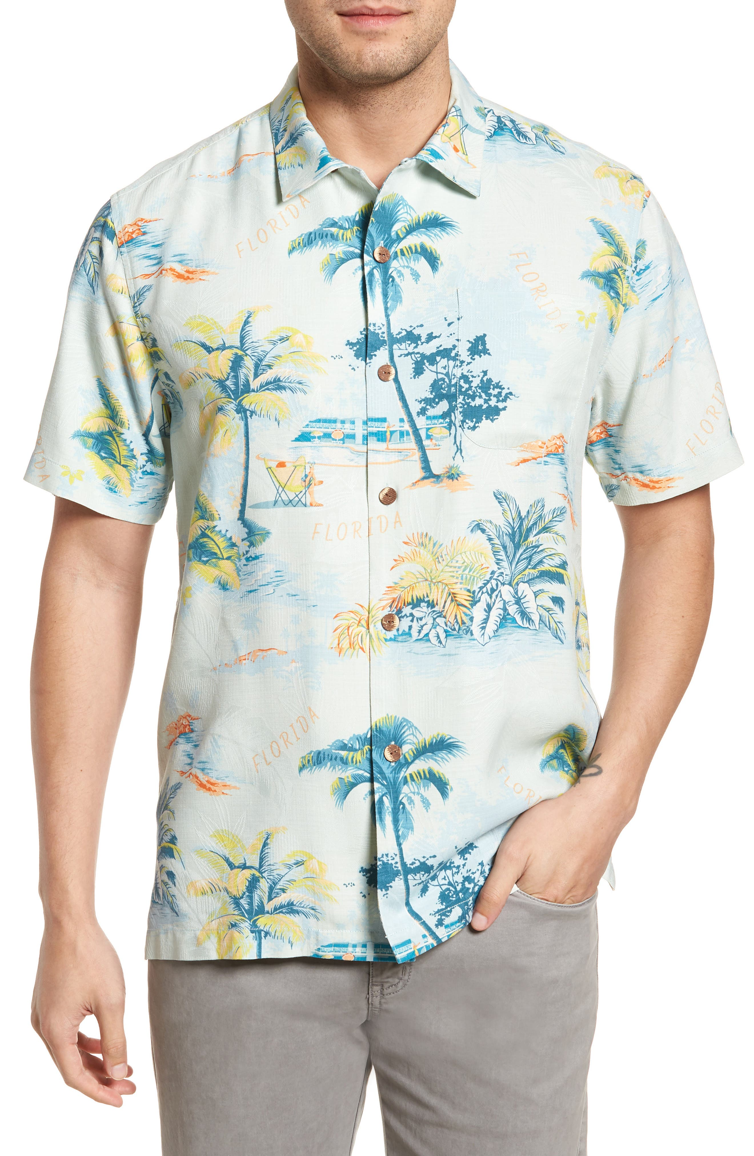 Florida Palms Regular Fit Silk Camp Shirt,                             Main thumbnail 1, color,                             400