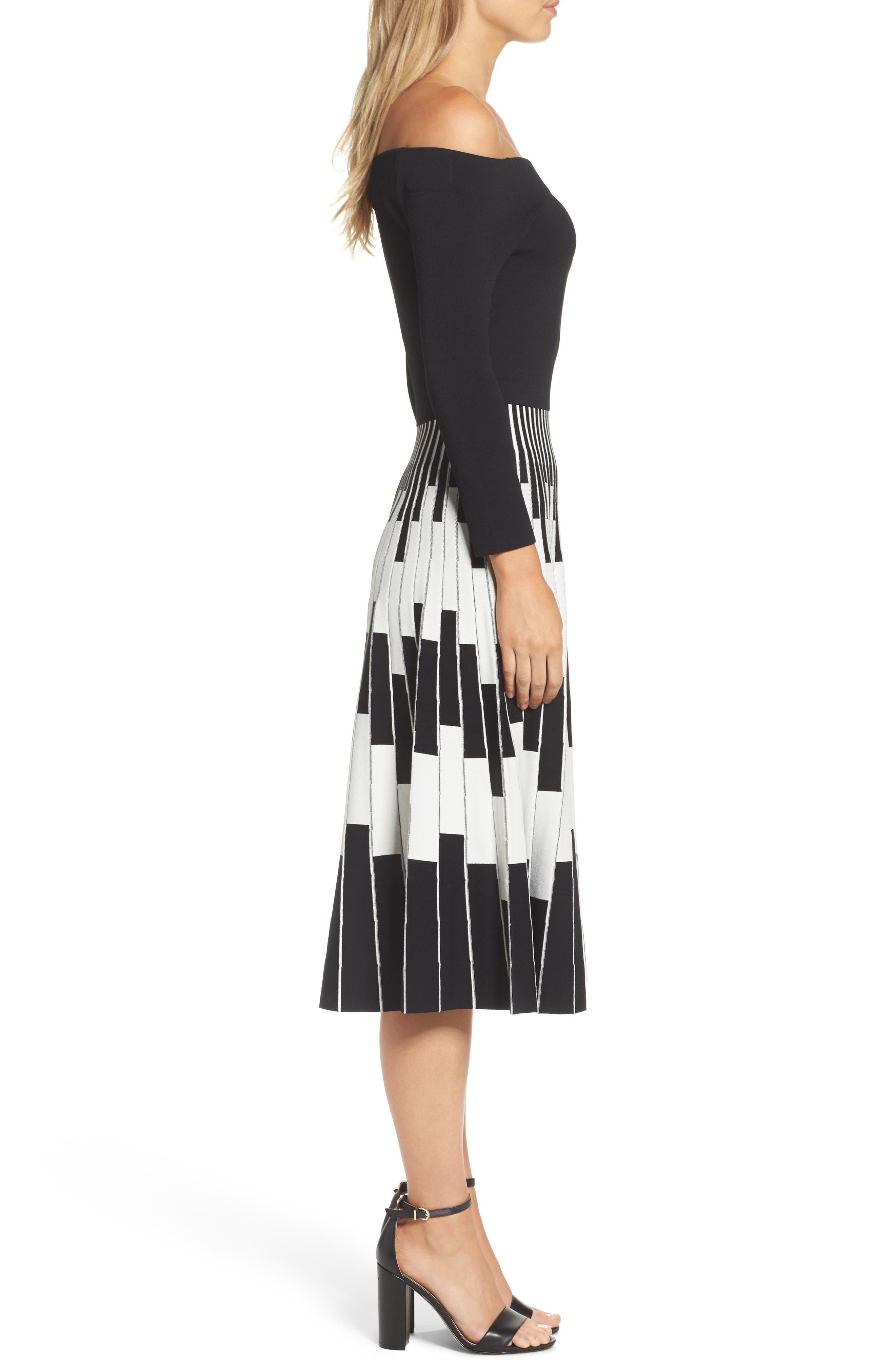 Off the Shoulder Midi Dress,                             Alternate thumbnail 3, color,                             BLACK/ IVORY