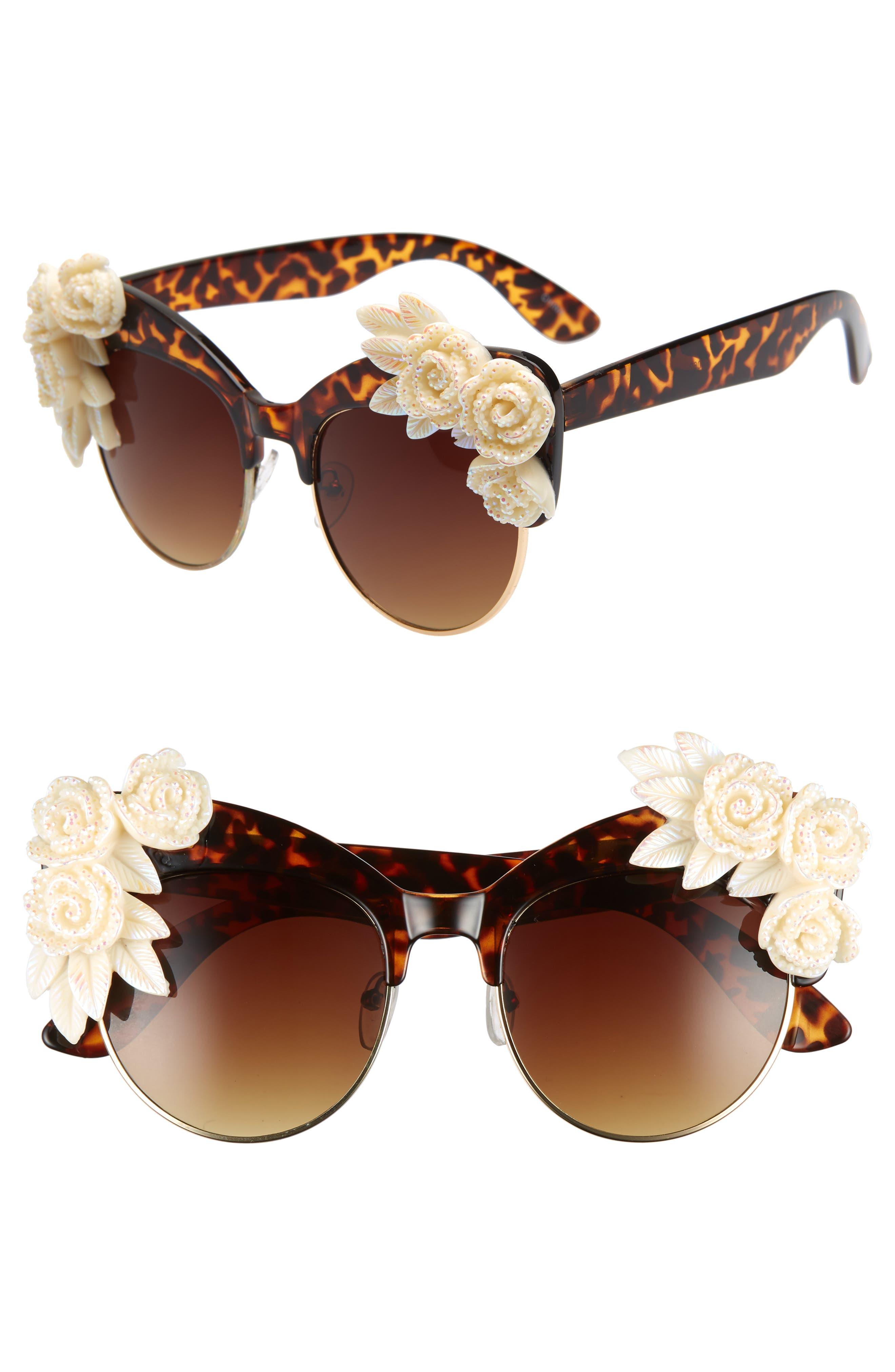 Rad + Refined Flower Cat Eye Sunglasses - Tort/ Cream