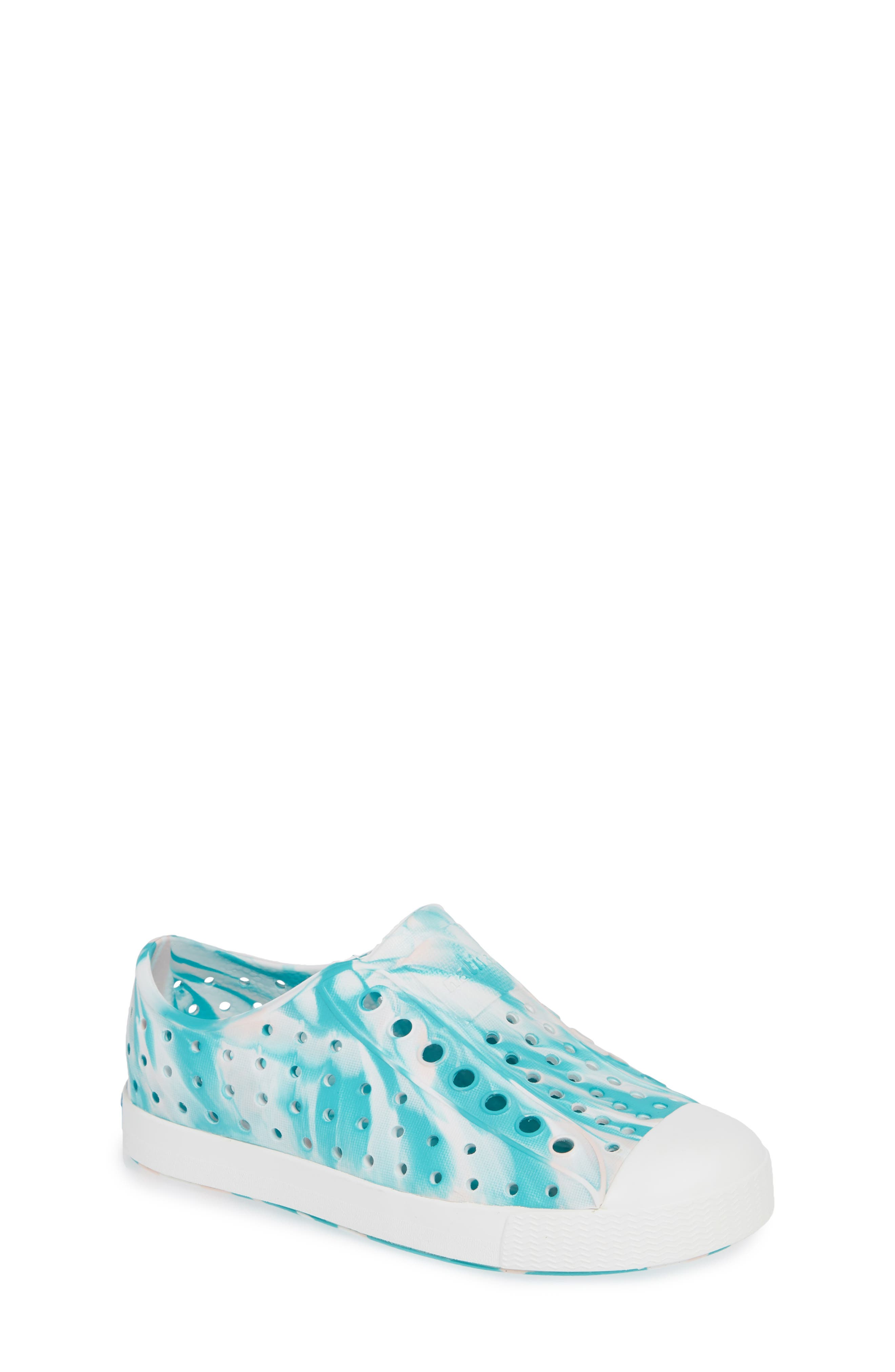 Jefferson - Marbled Perforated Slip-On,                             Main thumbnail 1, color,                             GLASS GREEN/ WHITE MARBLED