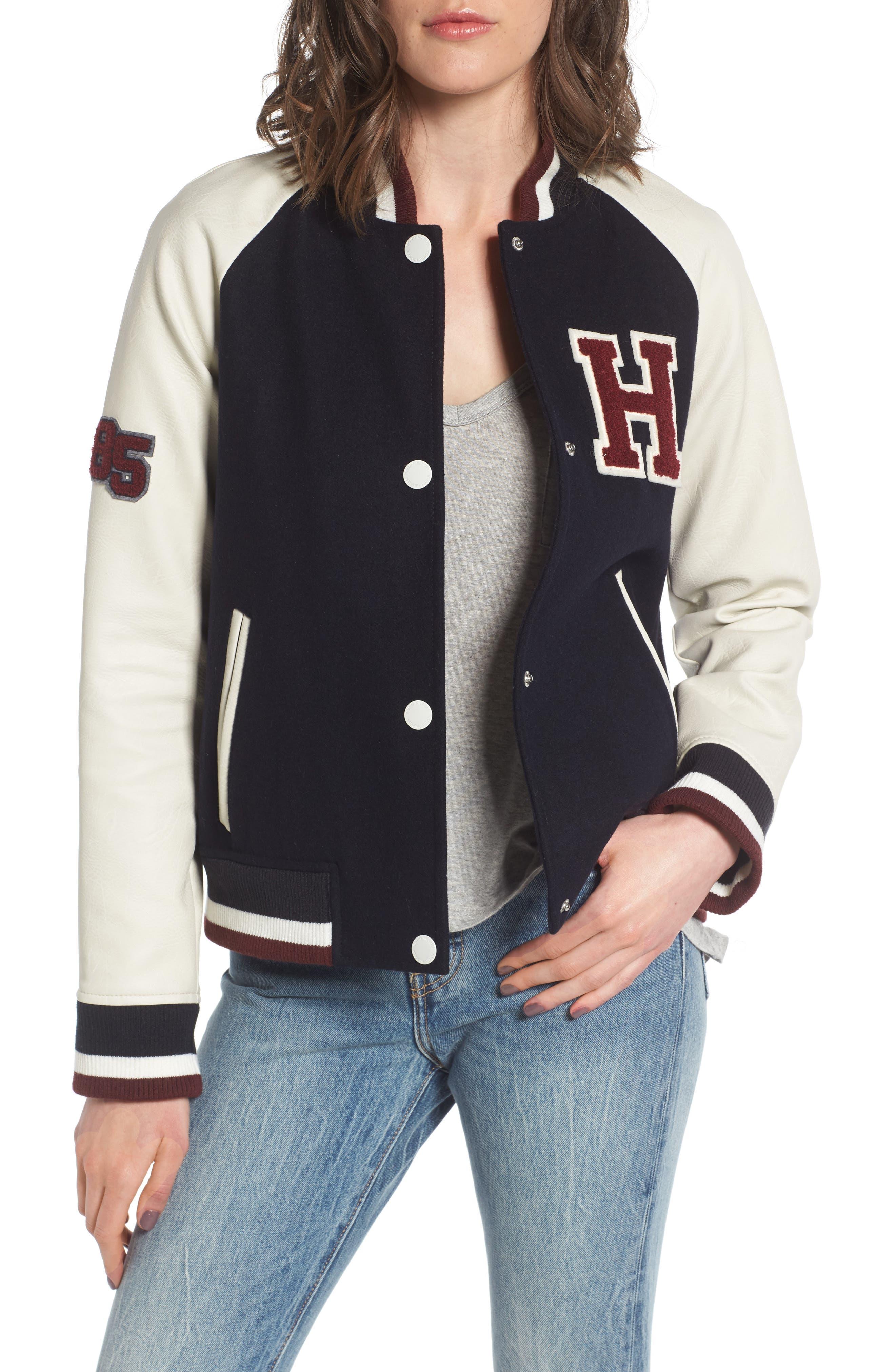 Mixed Media Varsity Jacket,                             Main thumbnail 1, color,                             410
