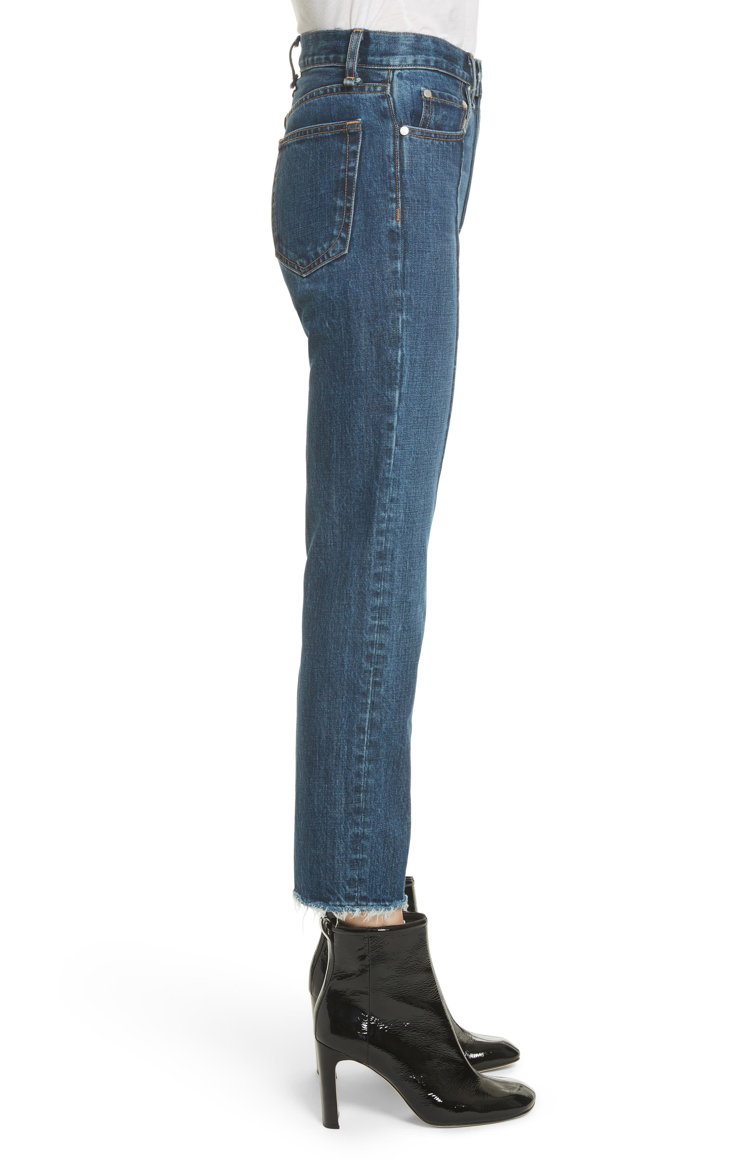 High Waist Ankle Straight Leg Jeans,                             Alternate thumbnail 3, color,                             418