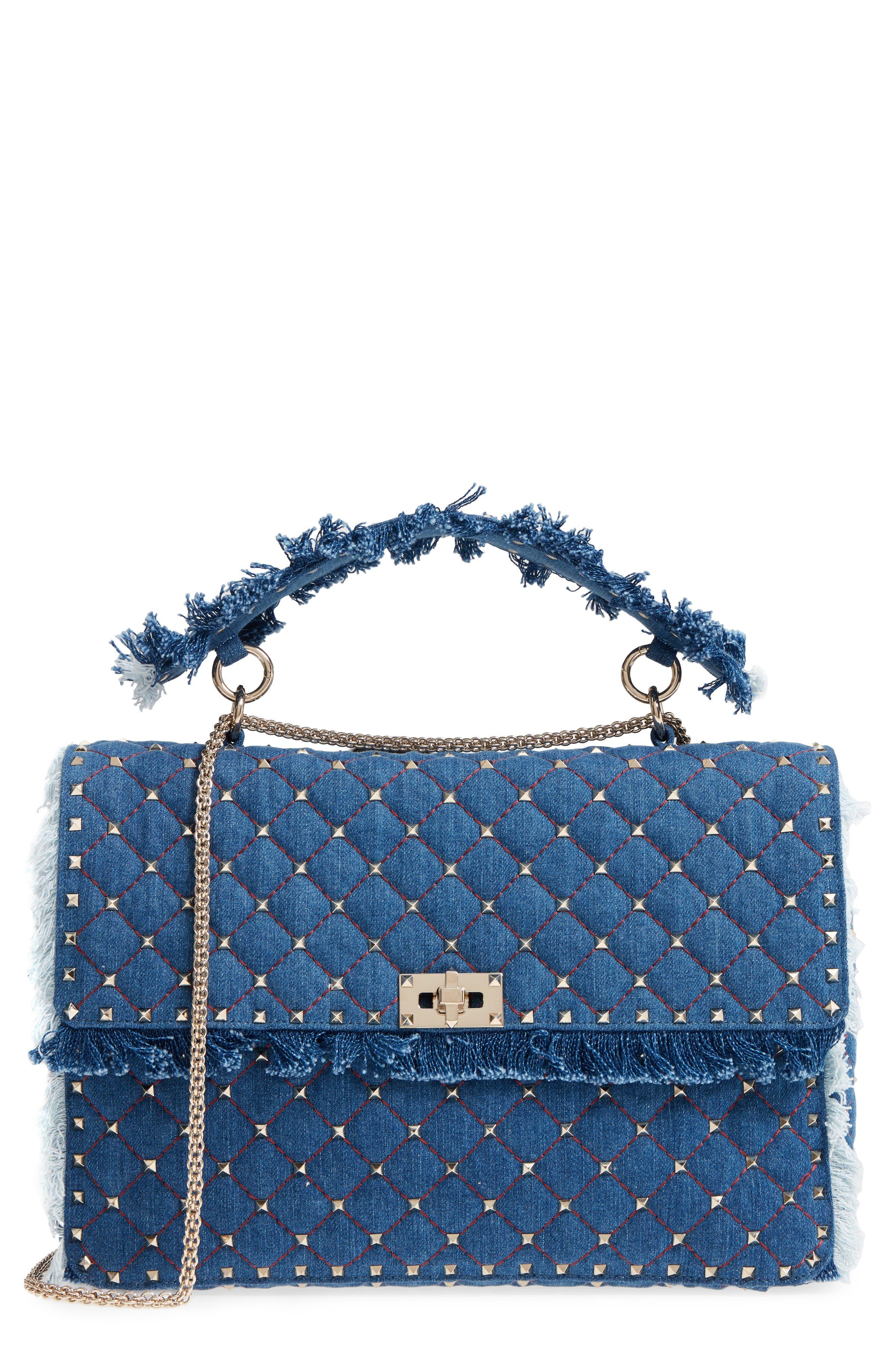 Maxi Rockstud Spike Denim Shoulder Bag,                         Main,                         color, 408
