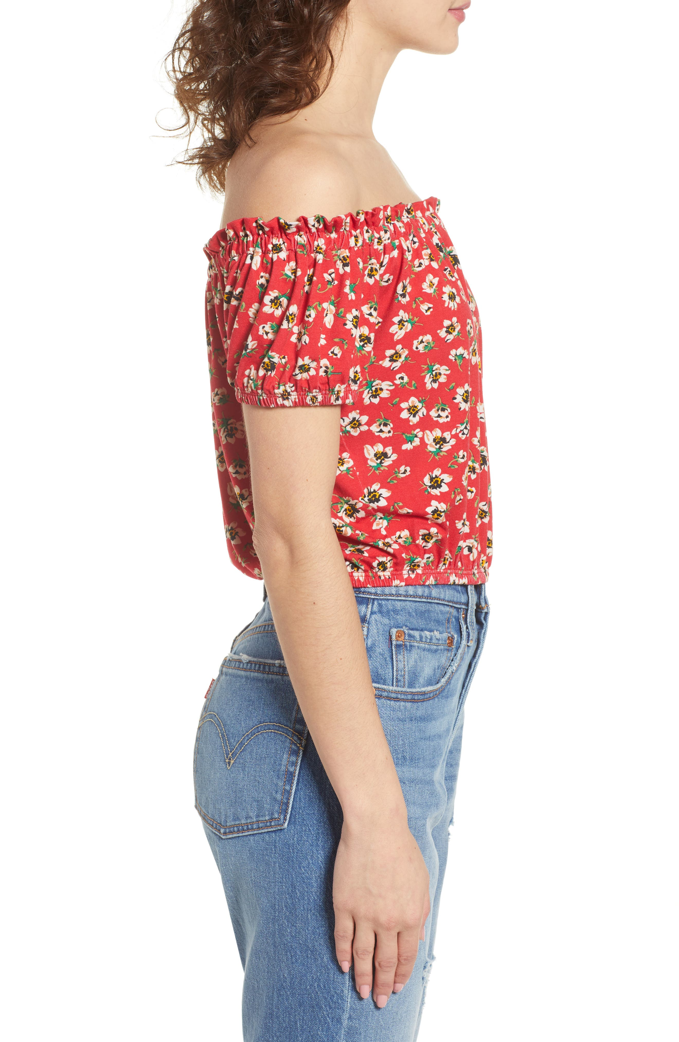 Floral Off the Shoulder Top,                             Alternate thumbnail 3, color,                             600