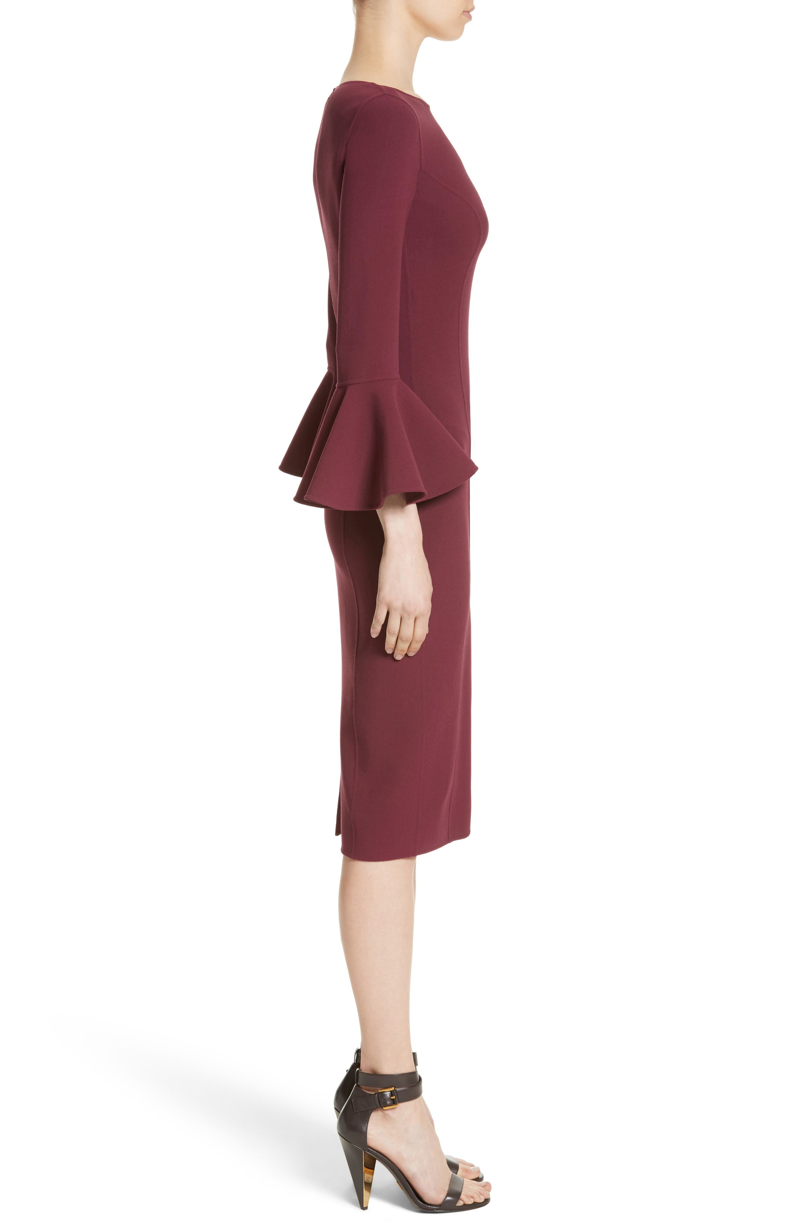 Bell Cuff Sheath Dress,                             Alternate thumbnail 3, color,                             608