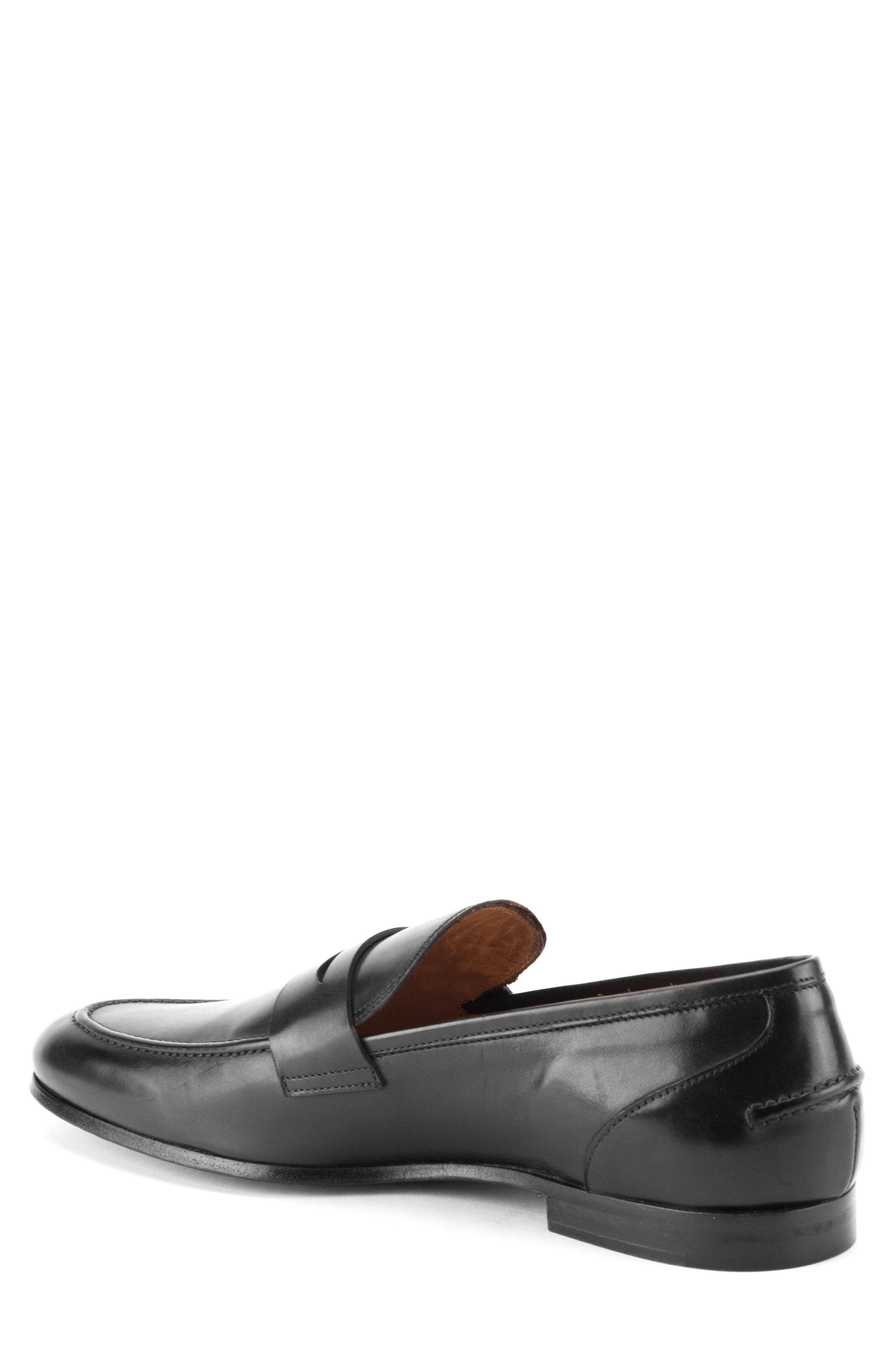 Coleman Apron Toe Penny Loafer,                             Alternate thumbnail 2, color,                             BLACK LEATHER