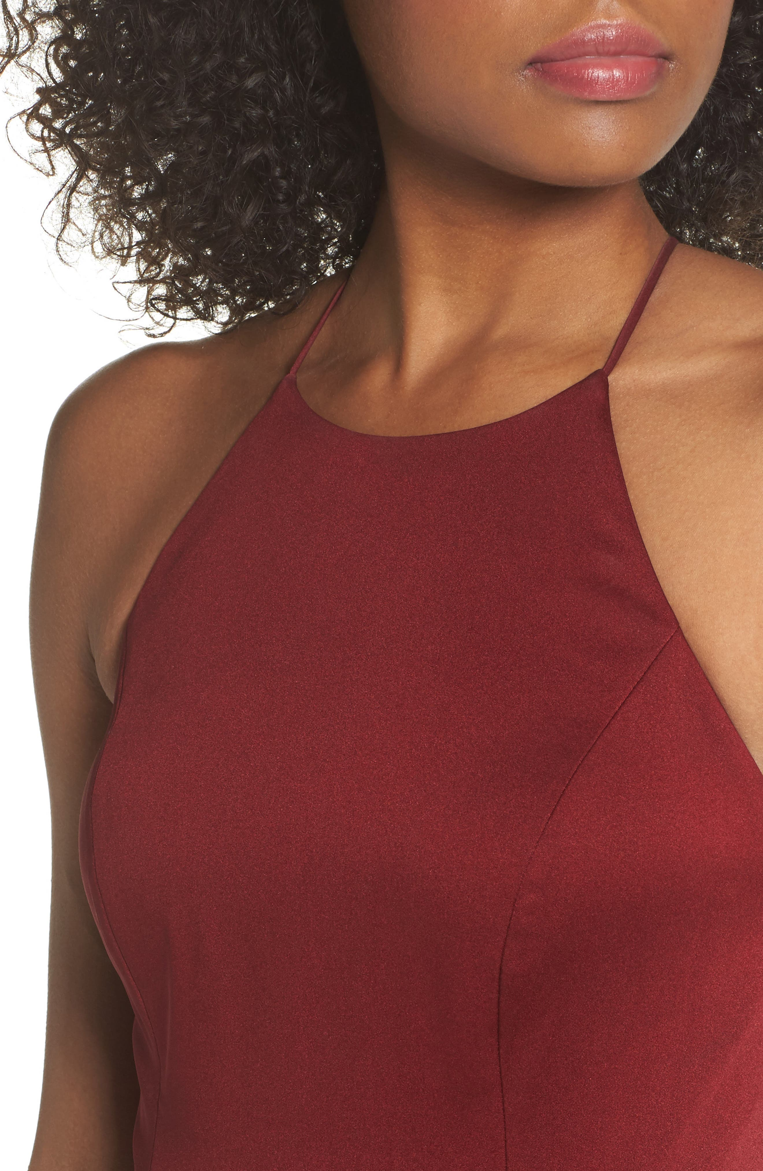 Naomi Luxe Crepe Halter Gown,                             Alternate thumbnail 4, color,                             CRANBERRY