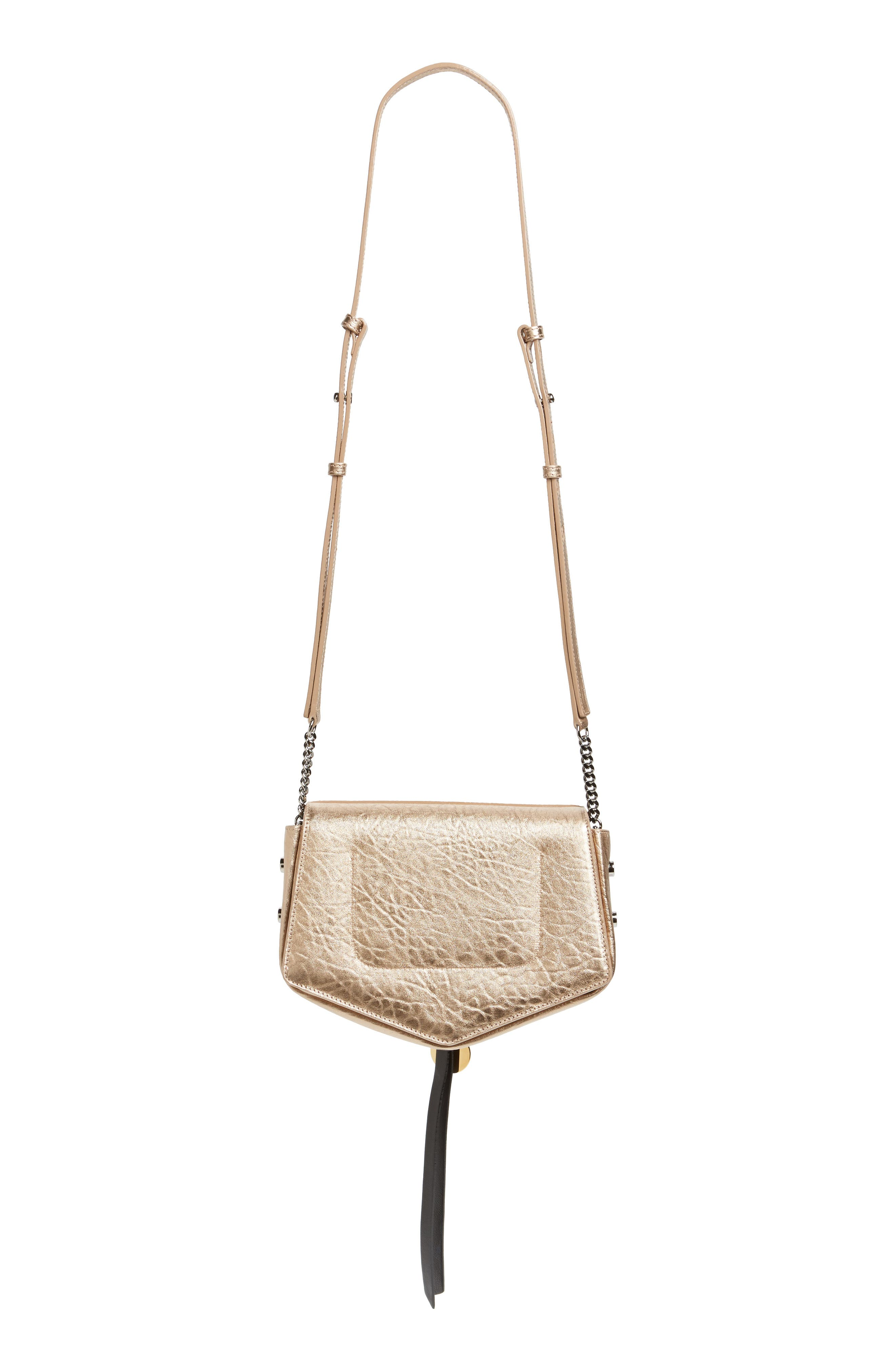 Arrow Metallic Grained Leather Shoulder Bag,                             Alternate thumbnail 9, color,