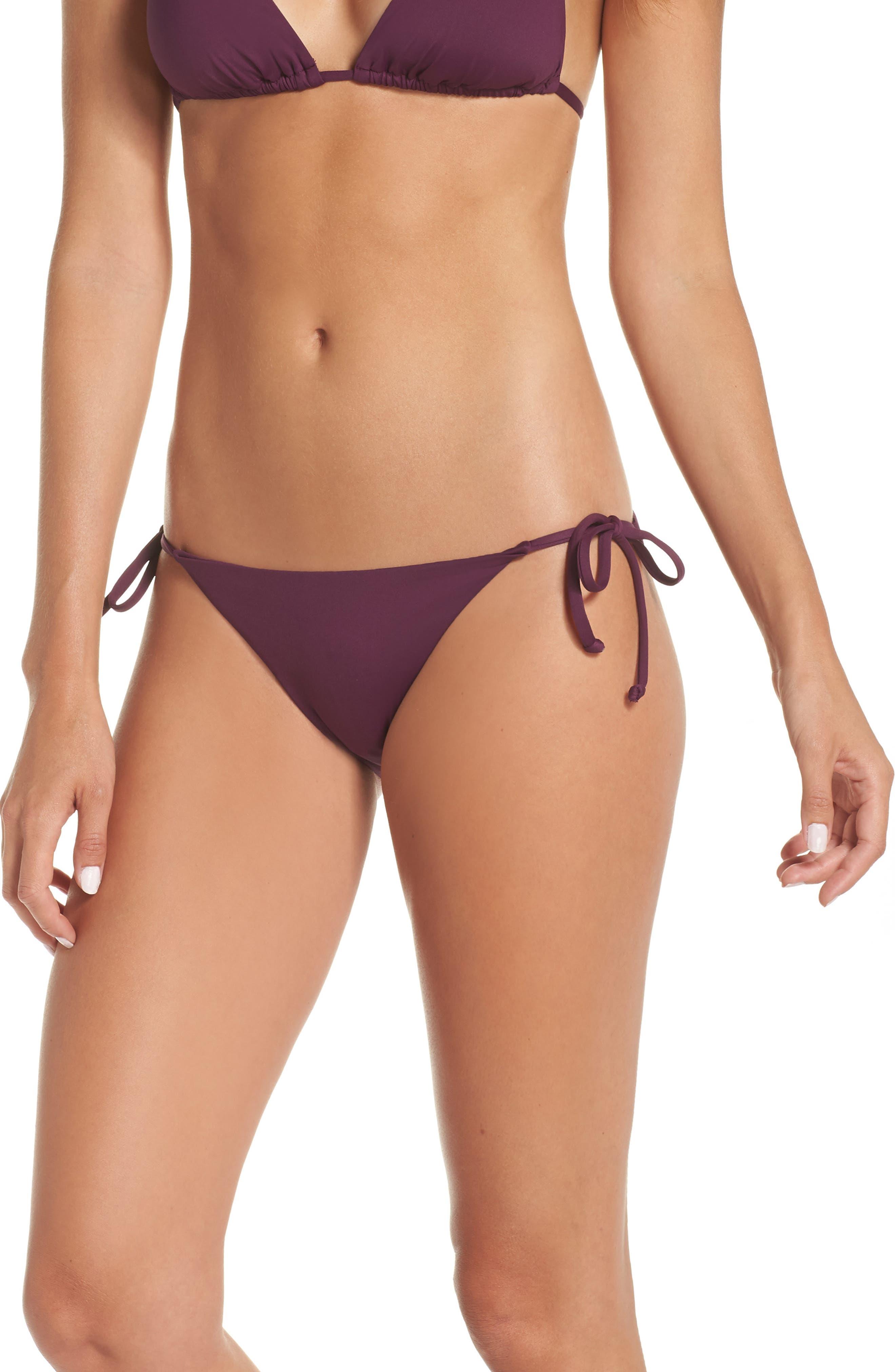Becca Color Code Side Tie Bikini Bottoms, Burgundy