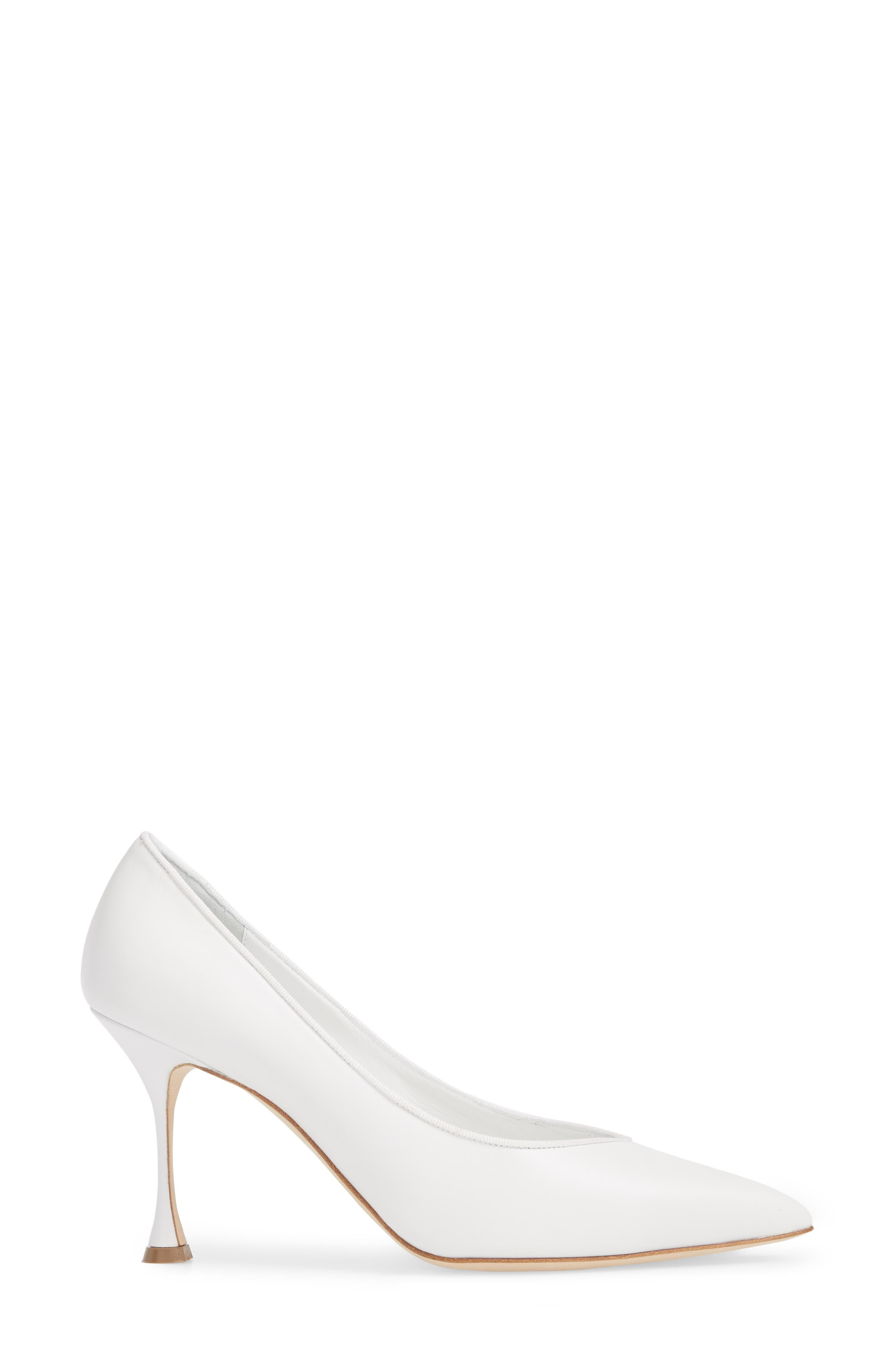 Urgenzapla Pointy Toe Pump,                             Alternate thumbnail 3, color,                             WHITE LEATHER