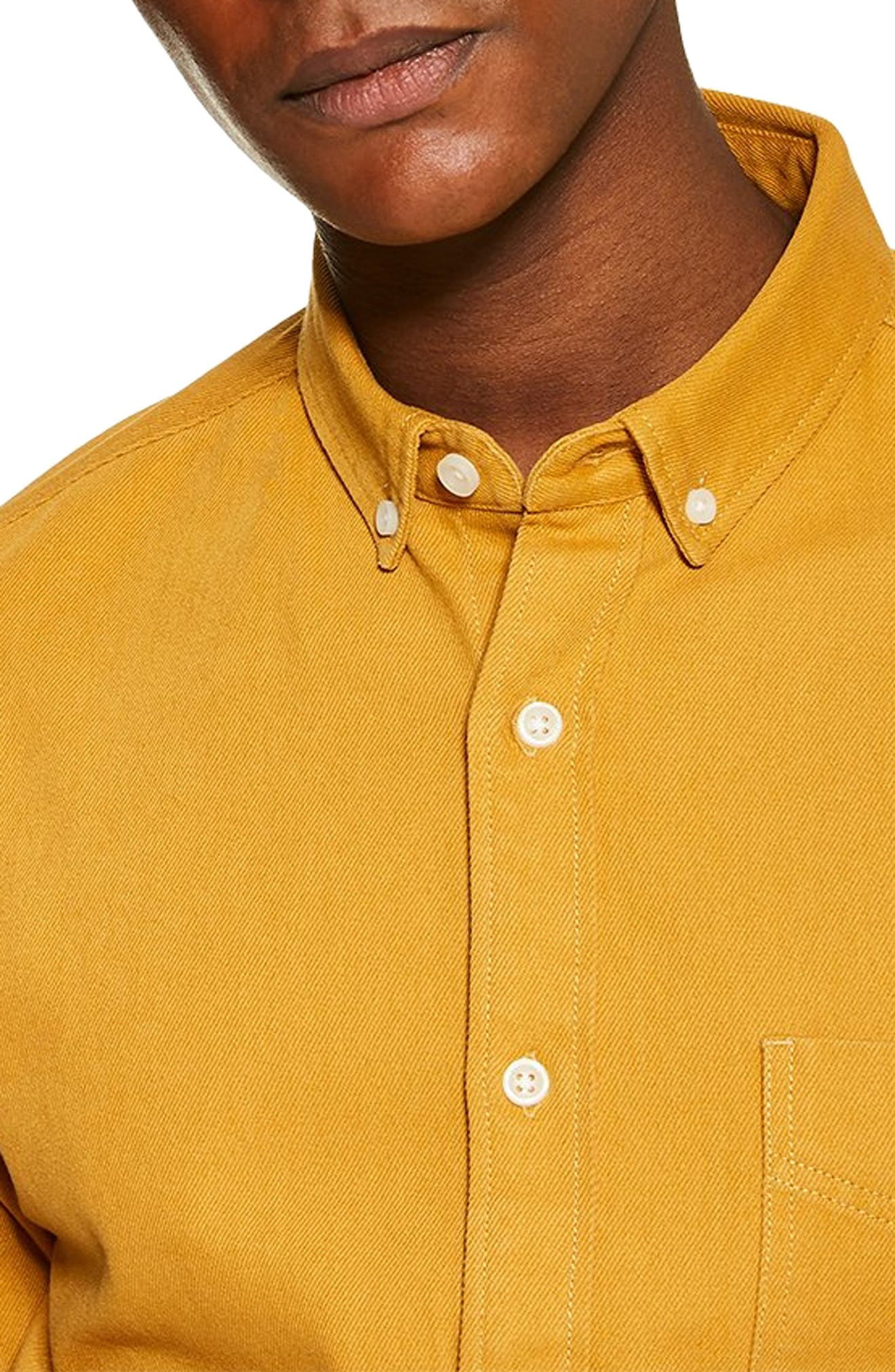 Slim Fit Twill Shirt,                             Alternate thumbnail 2, color,                             YELLOW