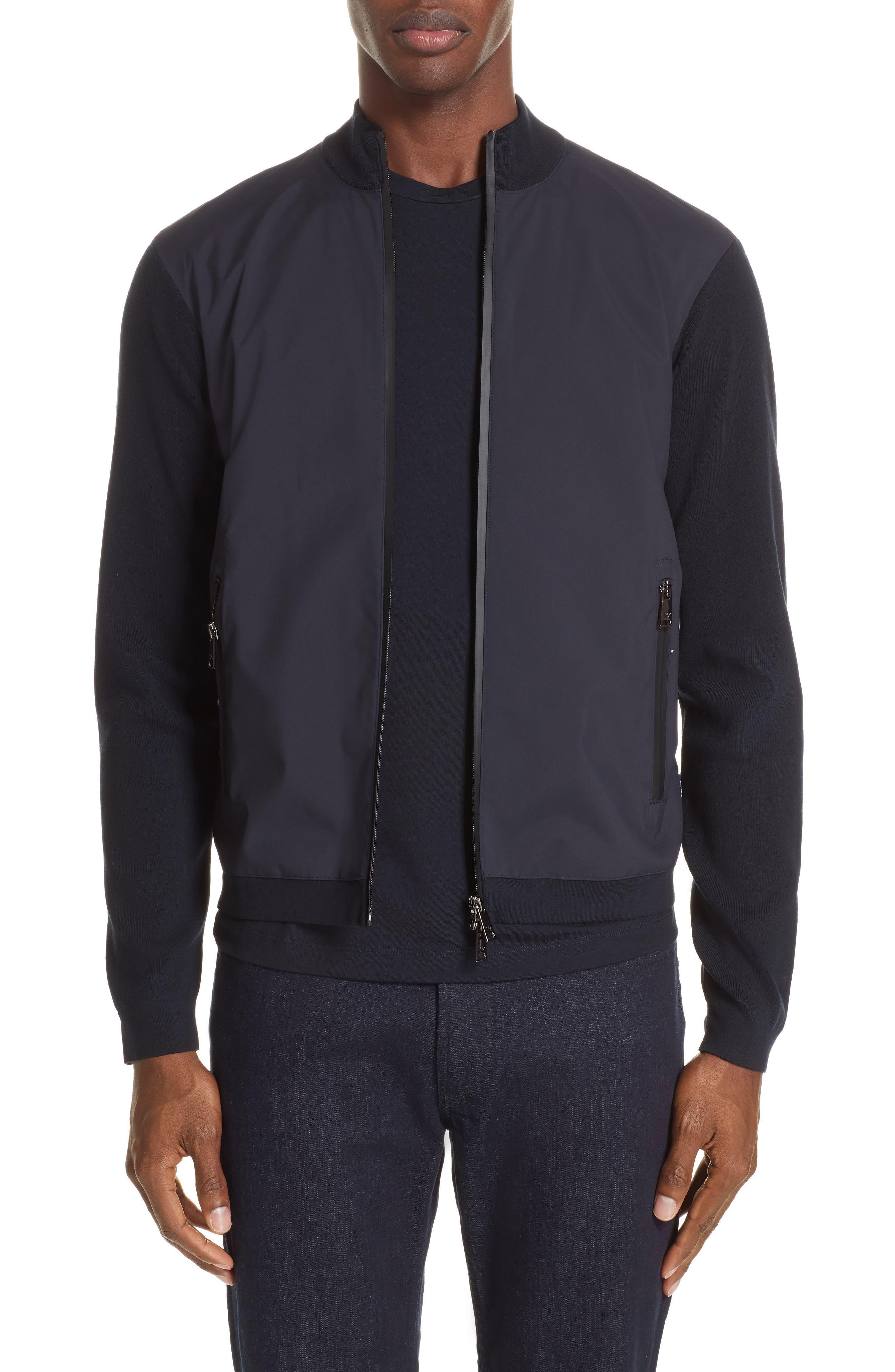 Mixed Media Jacket,                         Main,                         color, NAVY