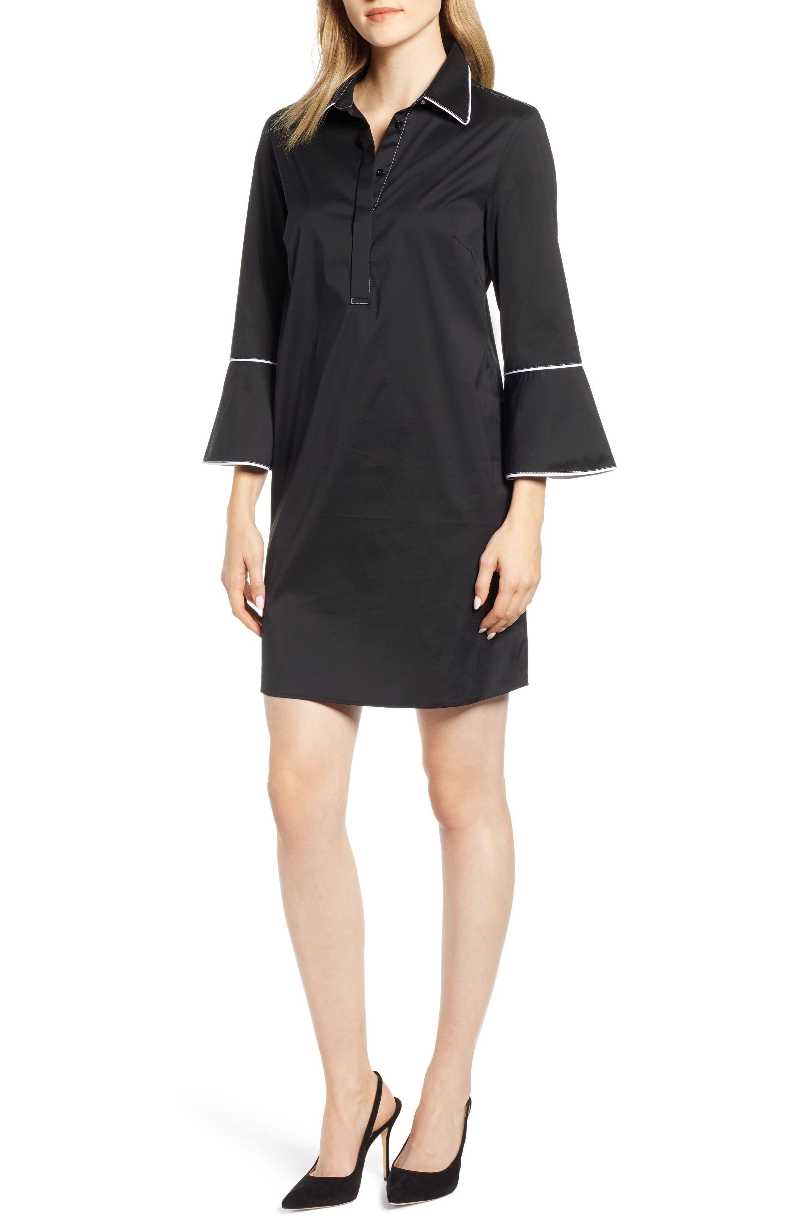 Ming Wang Bell Sleeve Shift Dress, Black