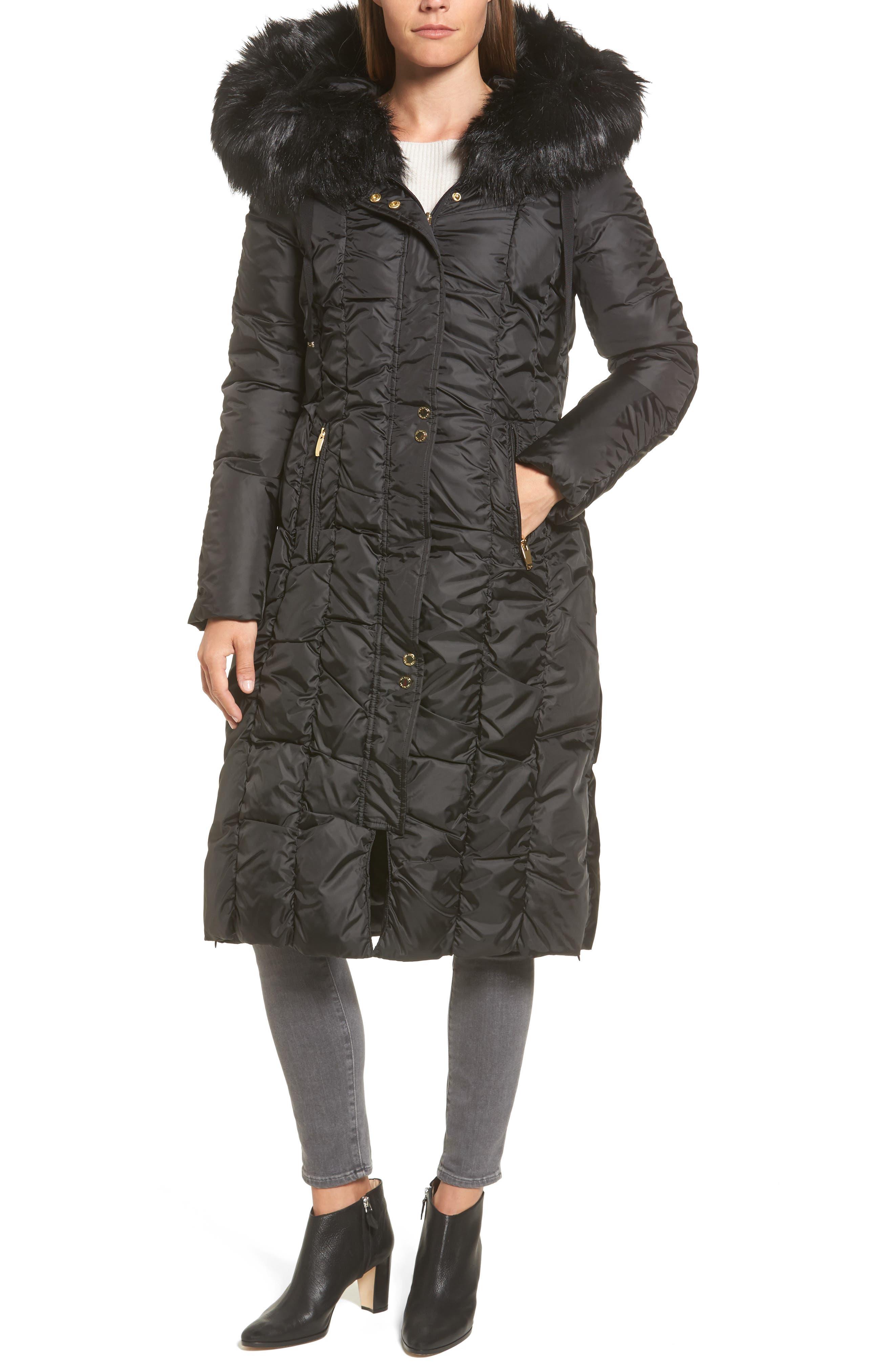 Long Faux Fur Trim Coat,                             Main thumbnail 1, color,                             001