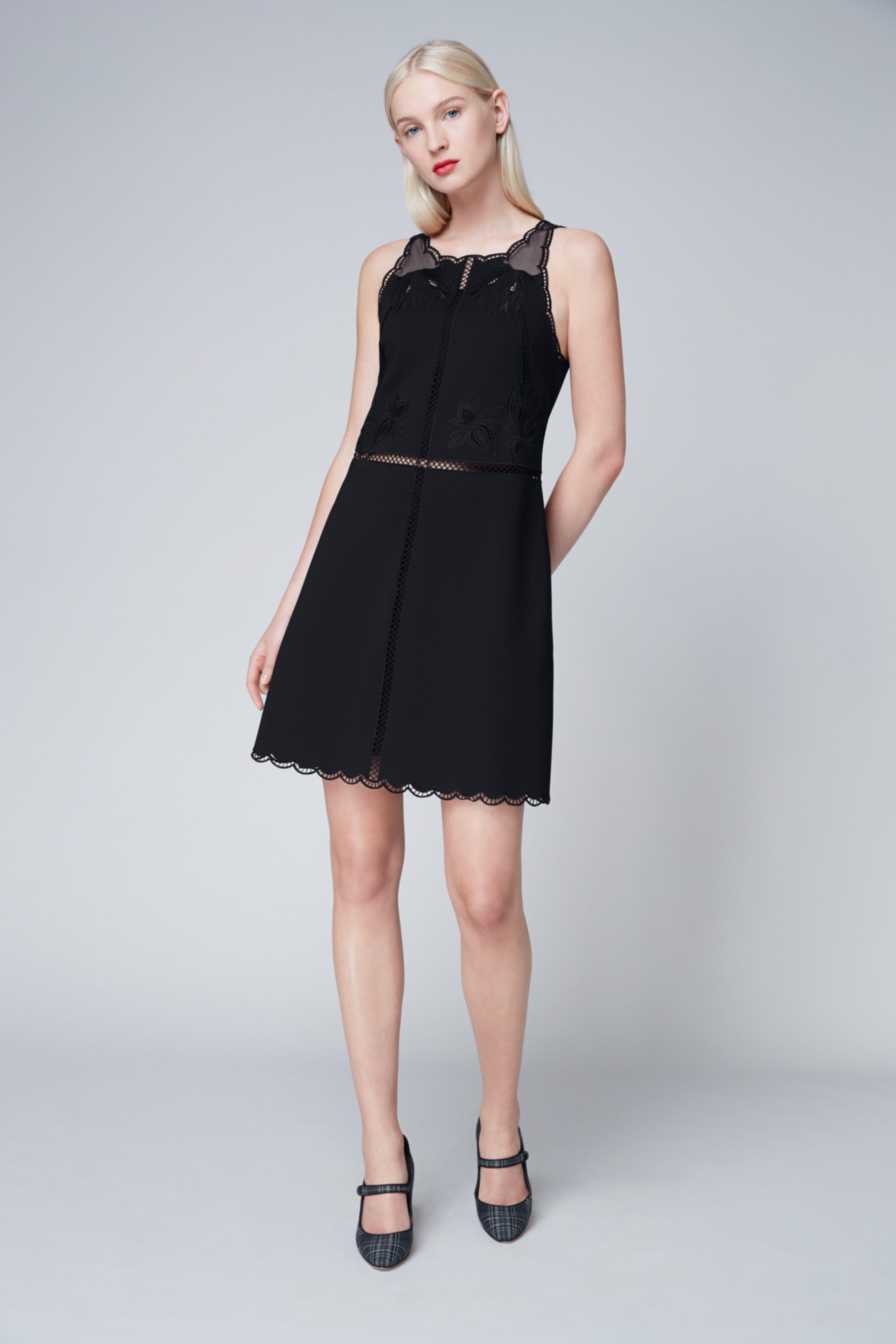 Codi Embroidered Scallop A-Line Dress,                             Alternate thumbnail 7, color,                             001